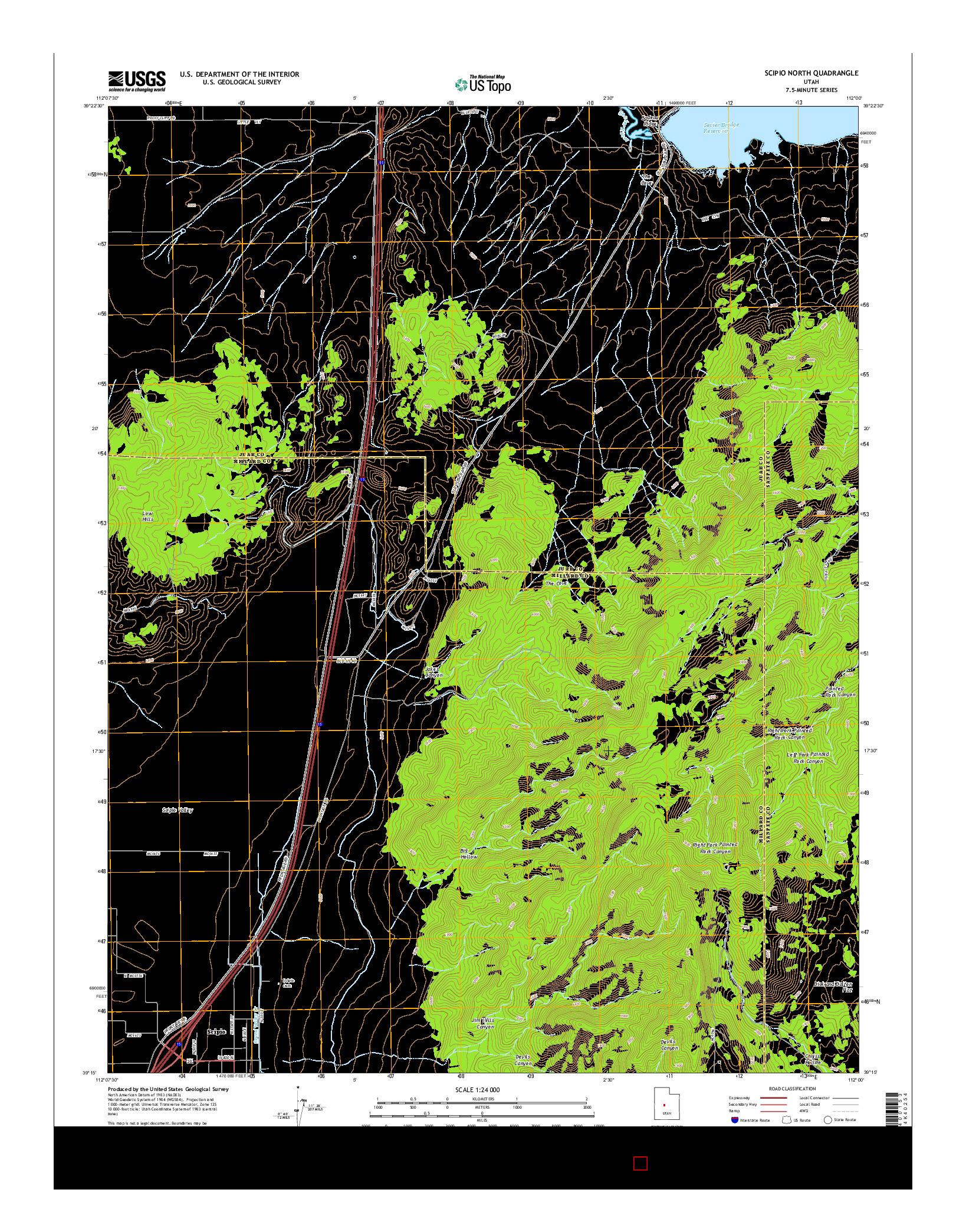 USGS US TOPO 7.5-MINUTE MAP FOR SCIPIO NORTH, UT 2014