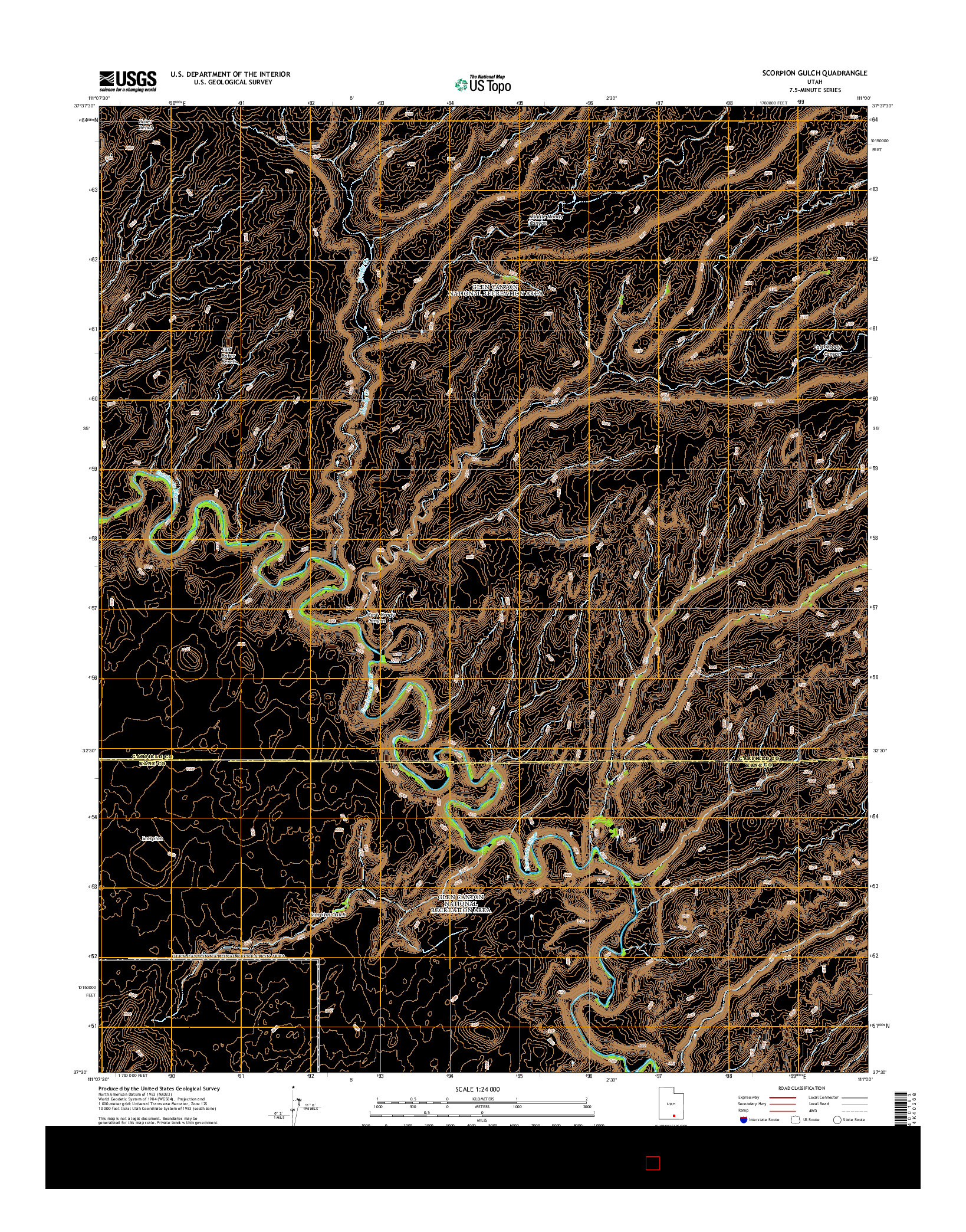 USGS US TOPO 7.5-MINUTE MAP FOR SCORPION GULCH, UT 2014
