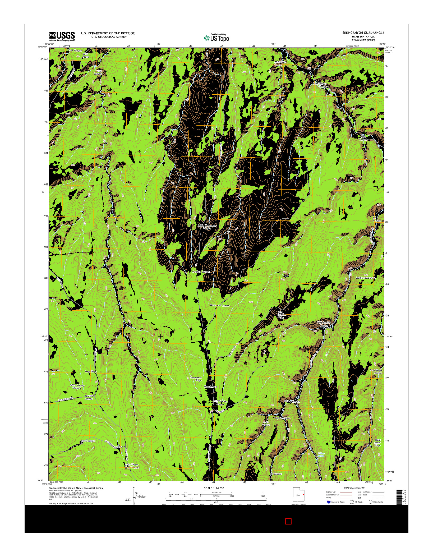 USGS US TOPO 7.5-MINUTE MAP FOR SEEP CANYON, UT 2014