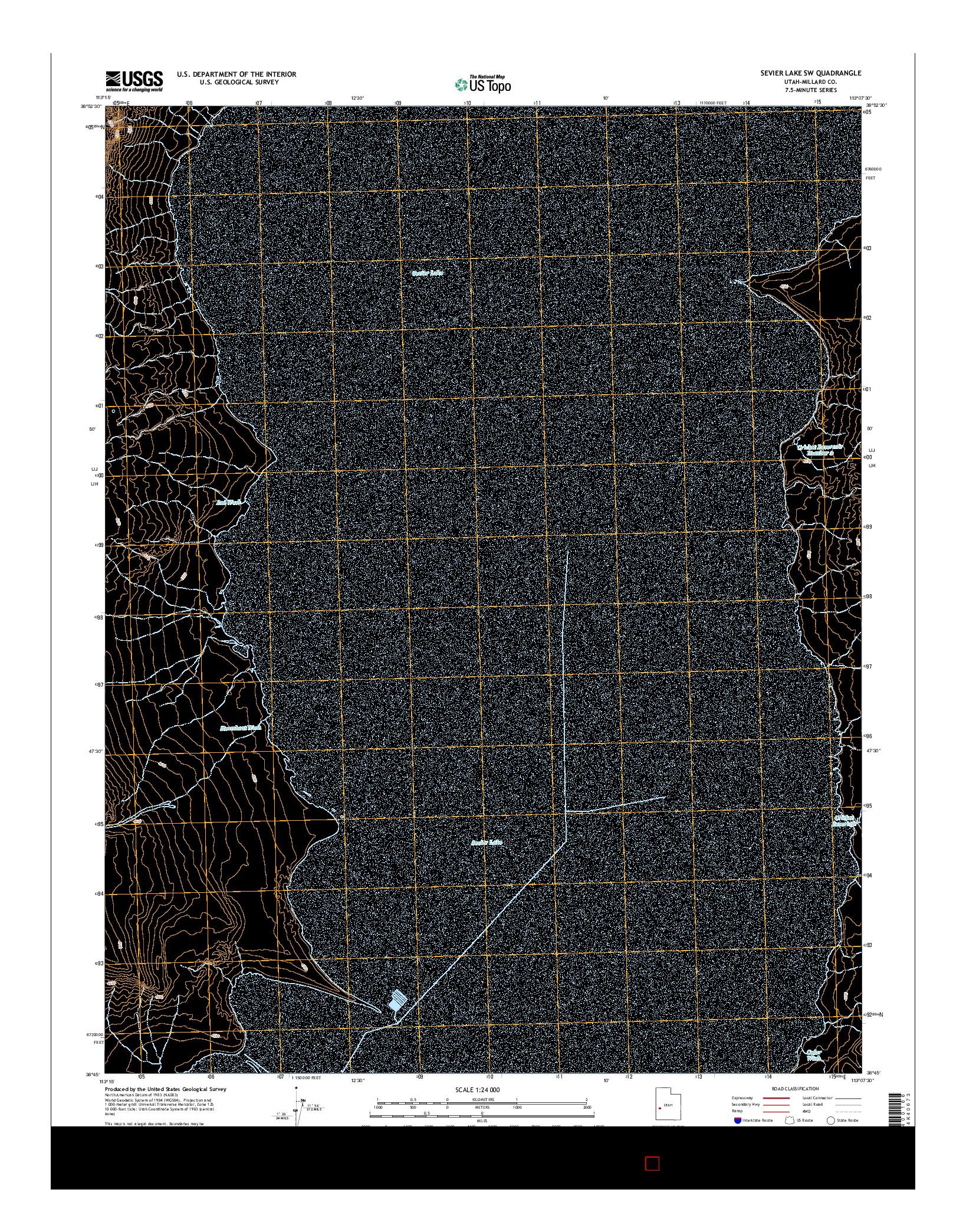 USGS US TOPO 7.5-MINUTE MAP FOR SEVIER LAKE SW, UT 2014