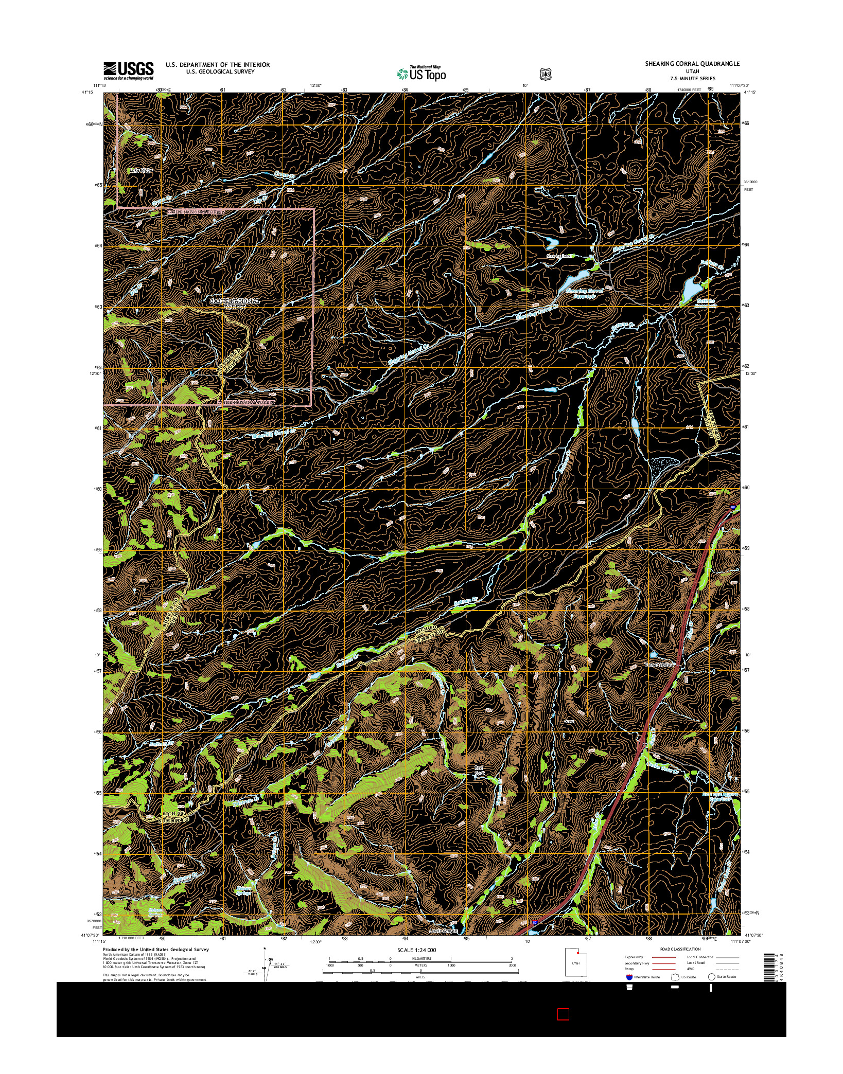 USGS US TOPO 7.5-MINUTE MAP FOR SHEARING CORRAL, UT 2014