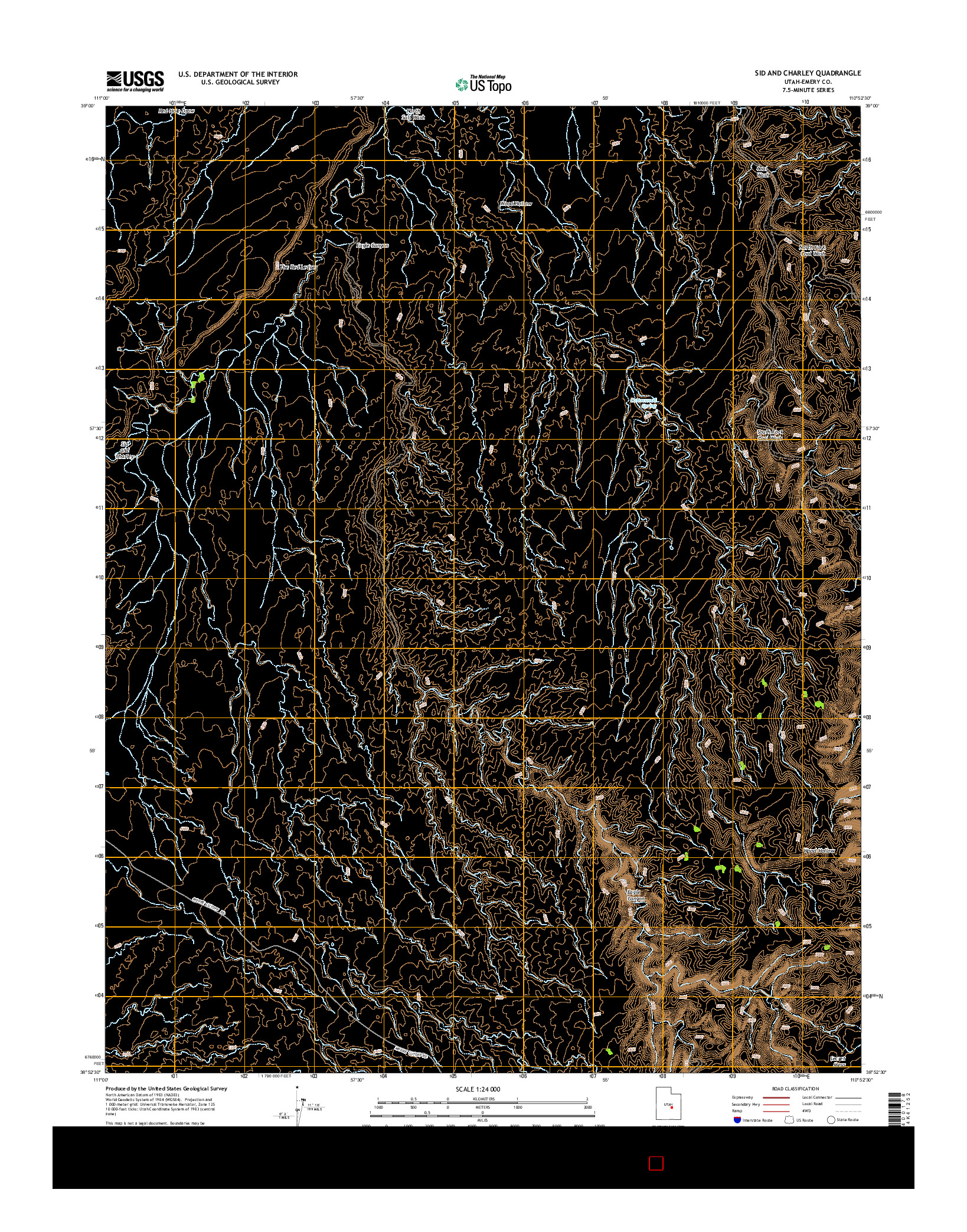 USGS US TOPO 7.5-MINUTE MAP FOR SID AND CHARLEY, UT 2014