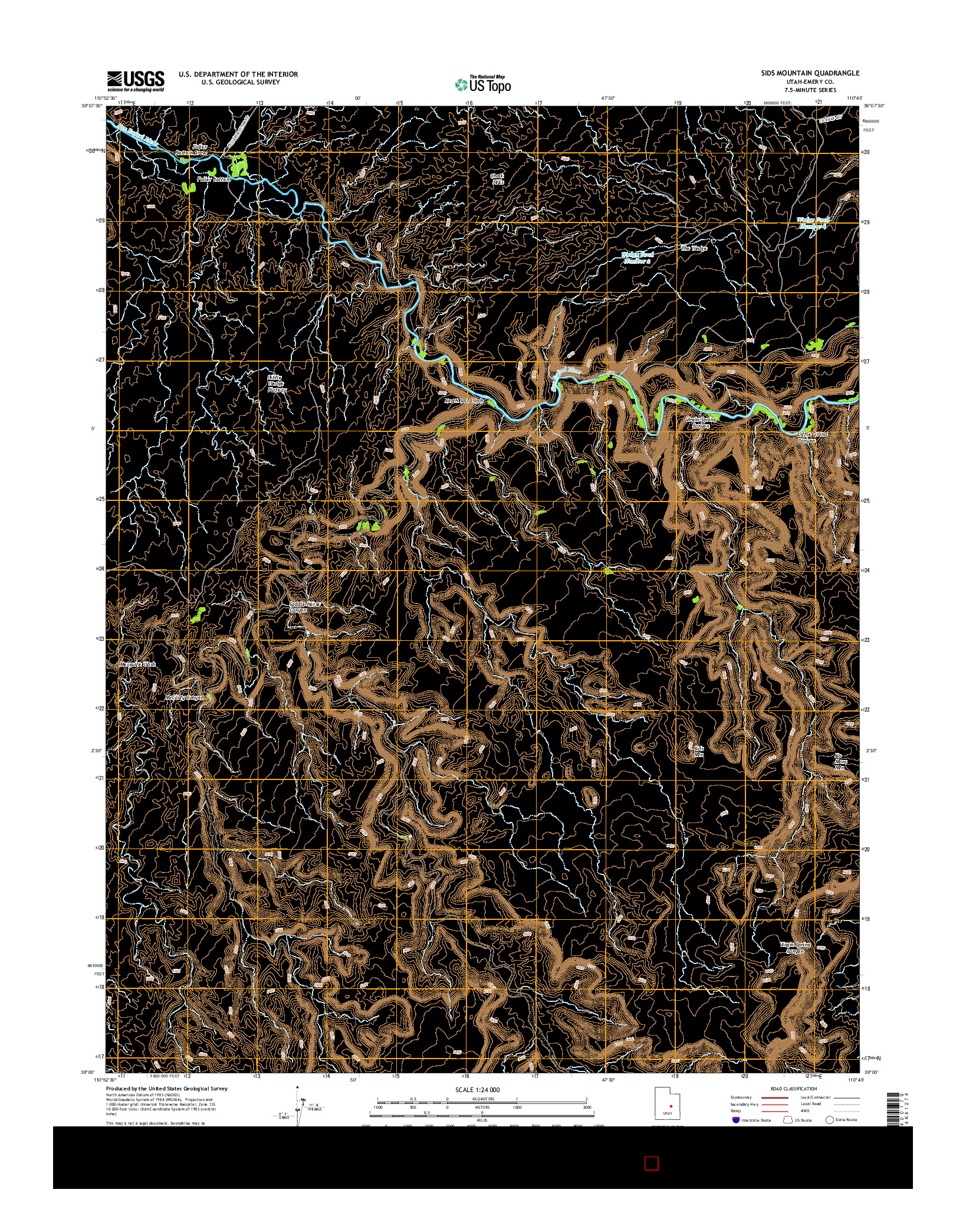 USGS US TOPO 7.5-MINUTE MAP FOR SIDS MOUNTAIN, UT 2014