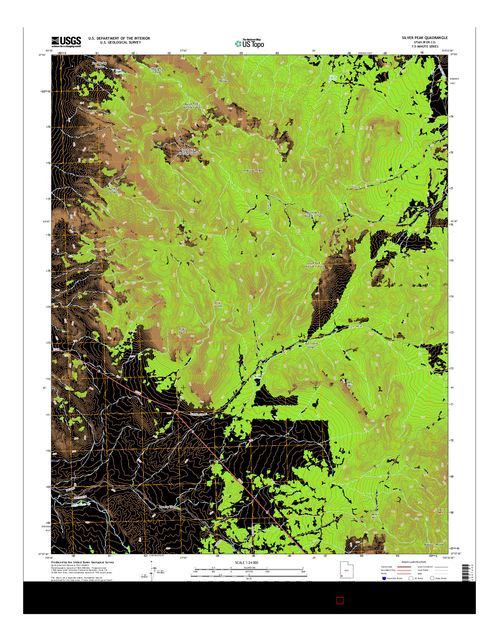 USGS US TOPO 7.5-MINUTE MAP FOR SILVER PEAK, UT 2014