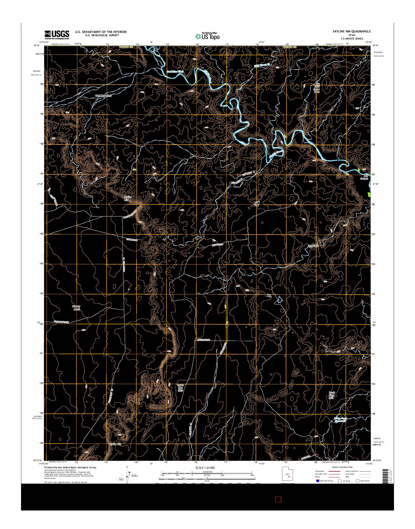 USGS US TOPO 7.5-MINUTE MAP FOR SKYLINE RIM, UT 2014