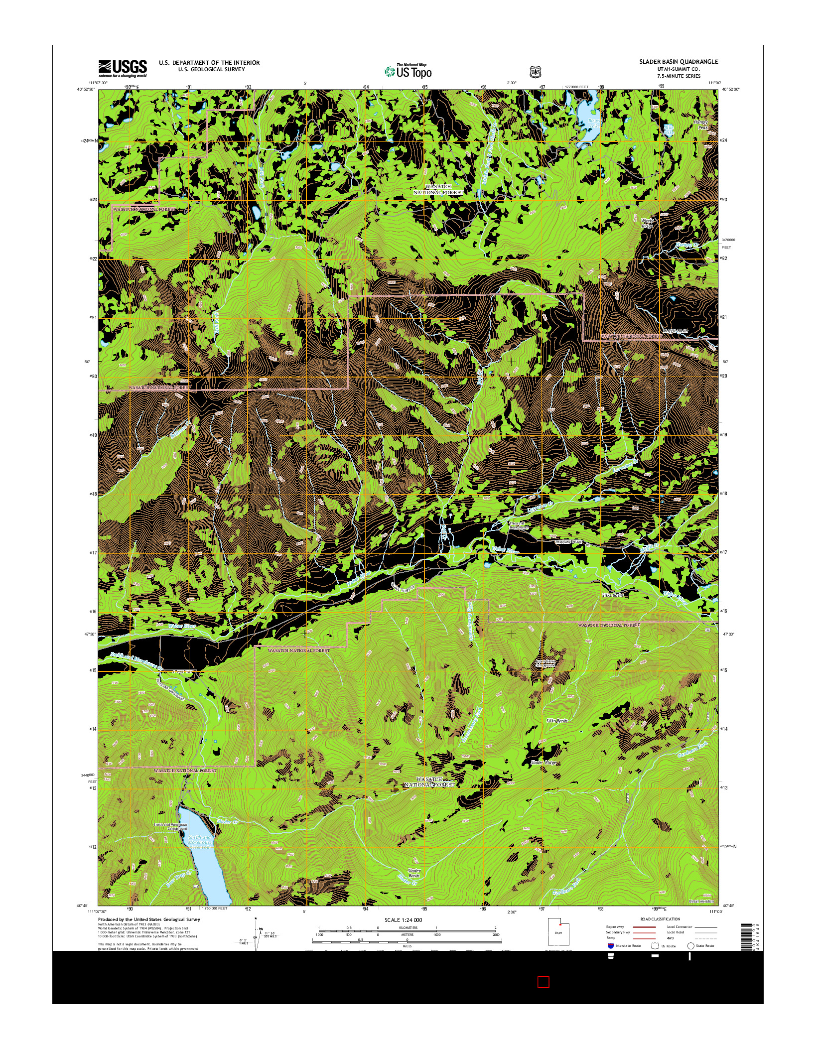 USGS US TOPO 7.5-MINUTE MAP FOR SLADER BASIN, UT 2014