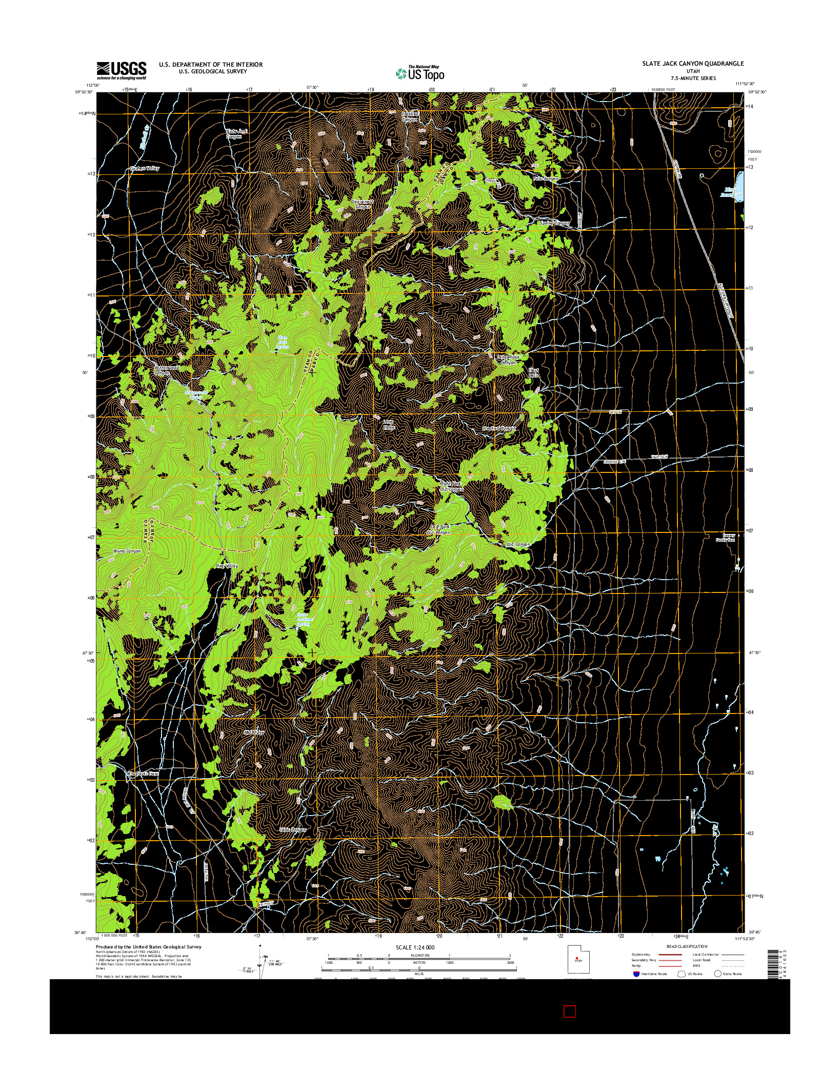 USGS US TOPO 7.5-MINUTE MAP FOR SLATE JACK CANYON, UT 2014