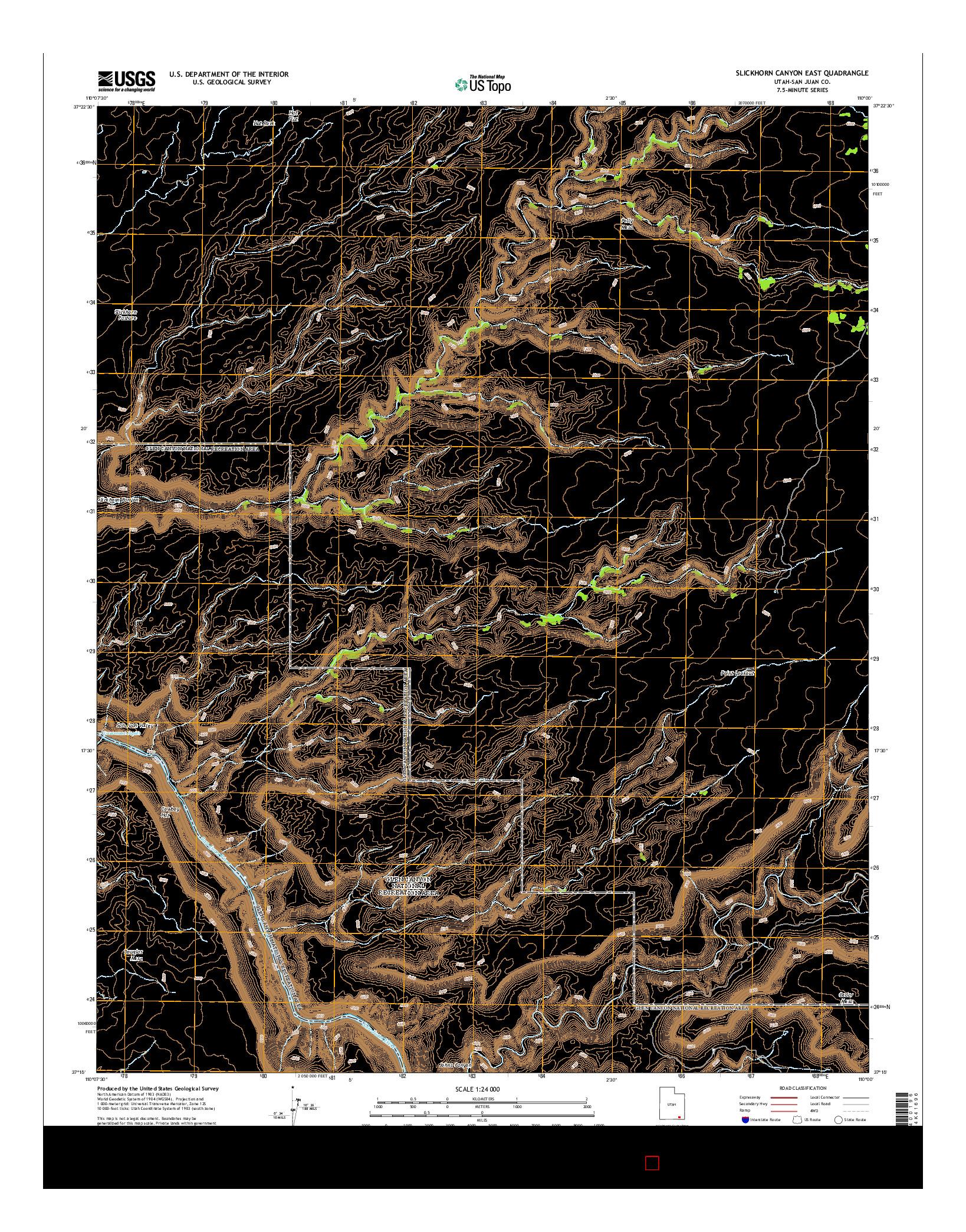 USGS US TOPO 7.5-MINUTE MAP FOR SLICKHORN CANYON EAST, UT 2014