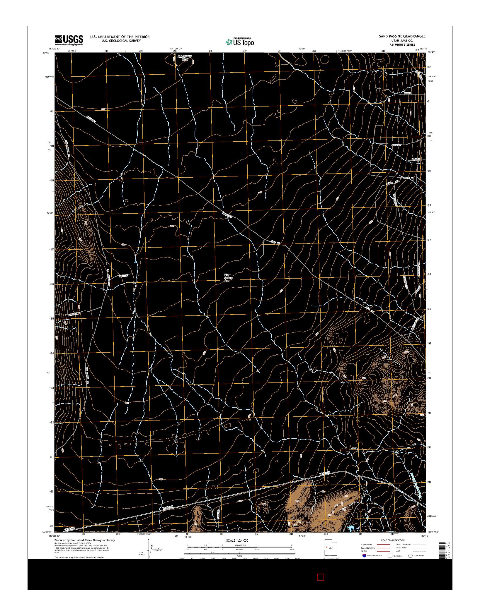 USGS US TOPO 7.5-MINUTE MAP FOR SAND PASS NE, UT 2014