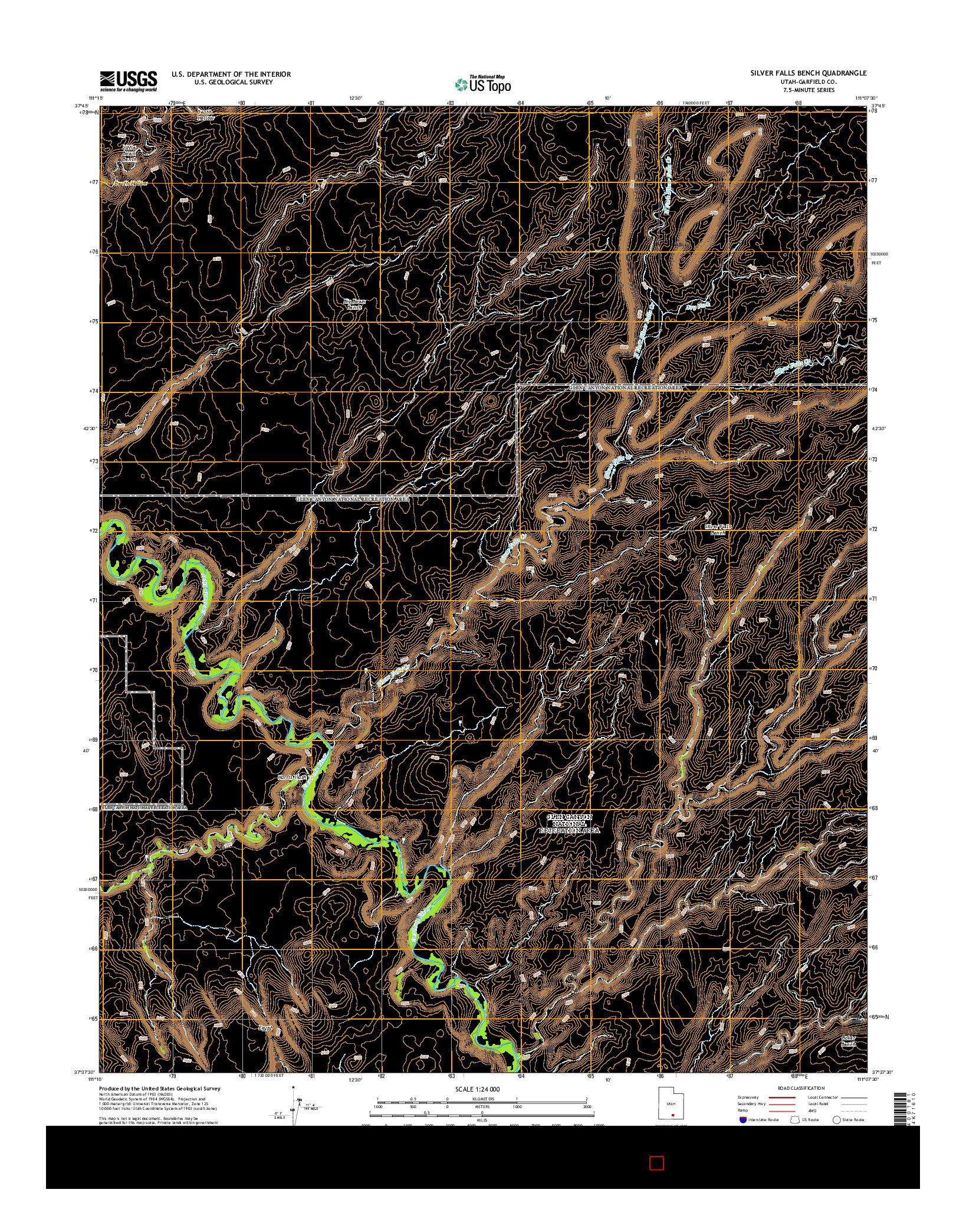USGS US TOPO 7.5-MINUTE MAP FOR SILVER FALLS BENCH, UT 2014