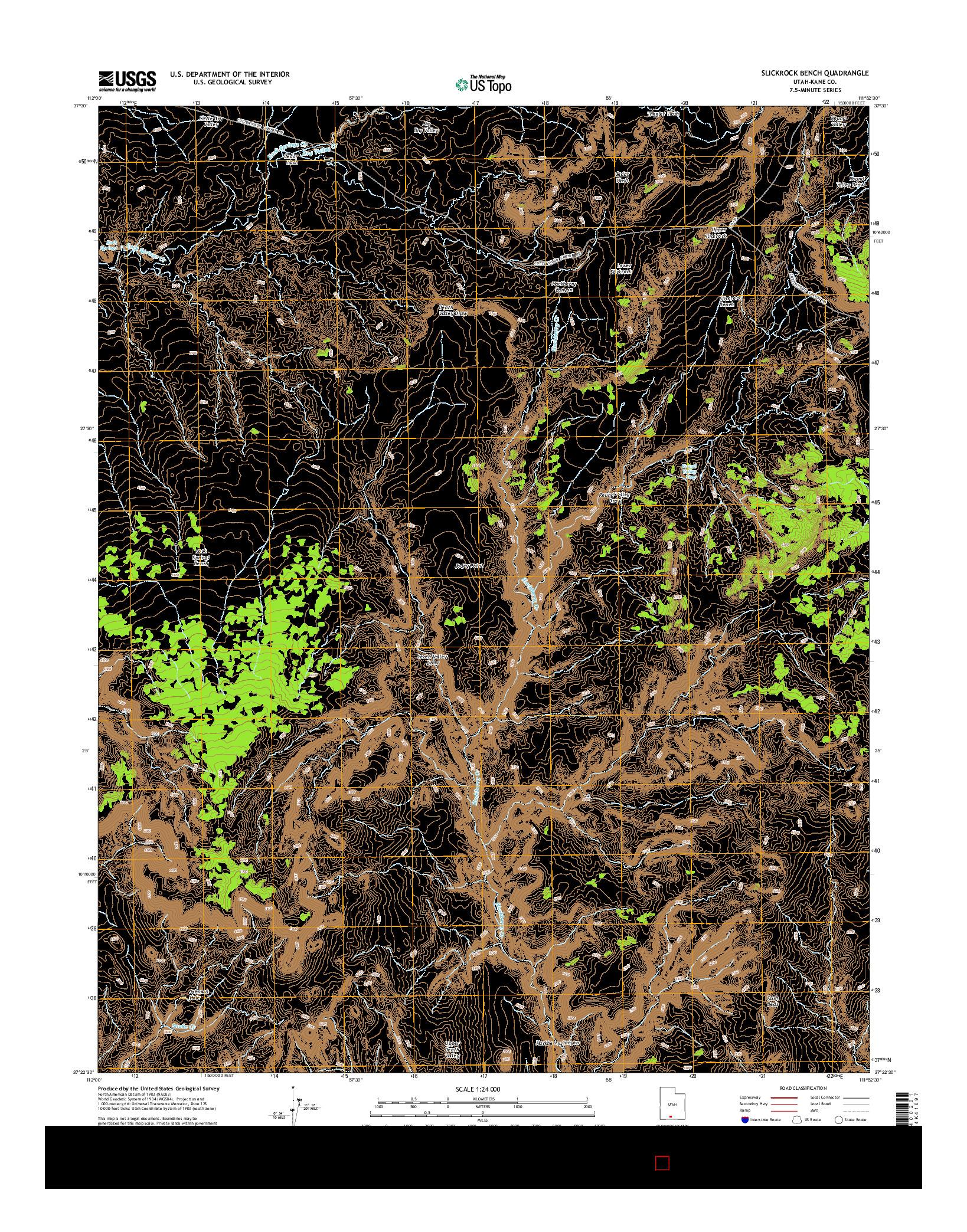 USGS US TOPO 7.5-MINUTE MAP FOR SLICKROCK BENCH, UT 2014