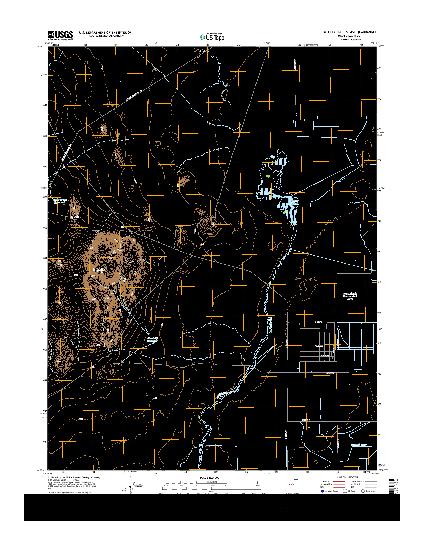 USGS US TOPO 7.5-MINUTE MAP FOR SMELTER KNOLLS EAST, UT 2014