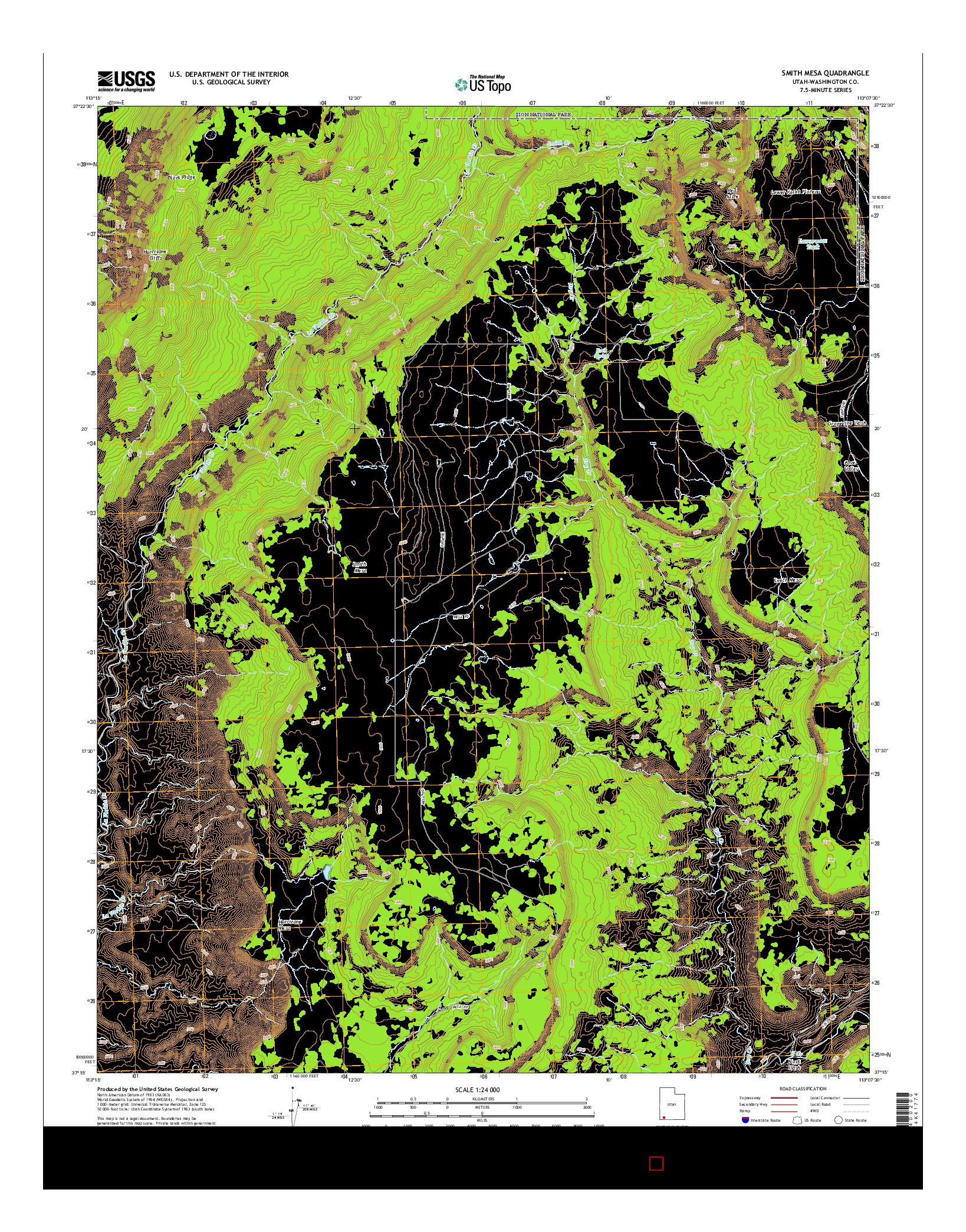 USGS US TOPO 7.5-MINUTE MAP FOR SMITH MESA, UT 2014