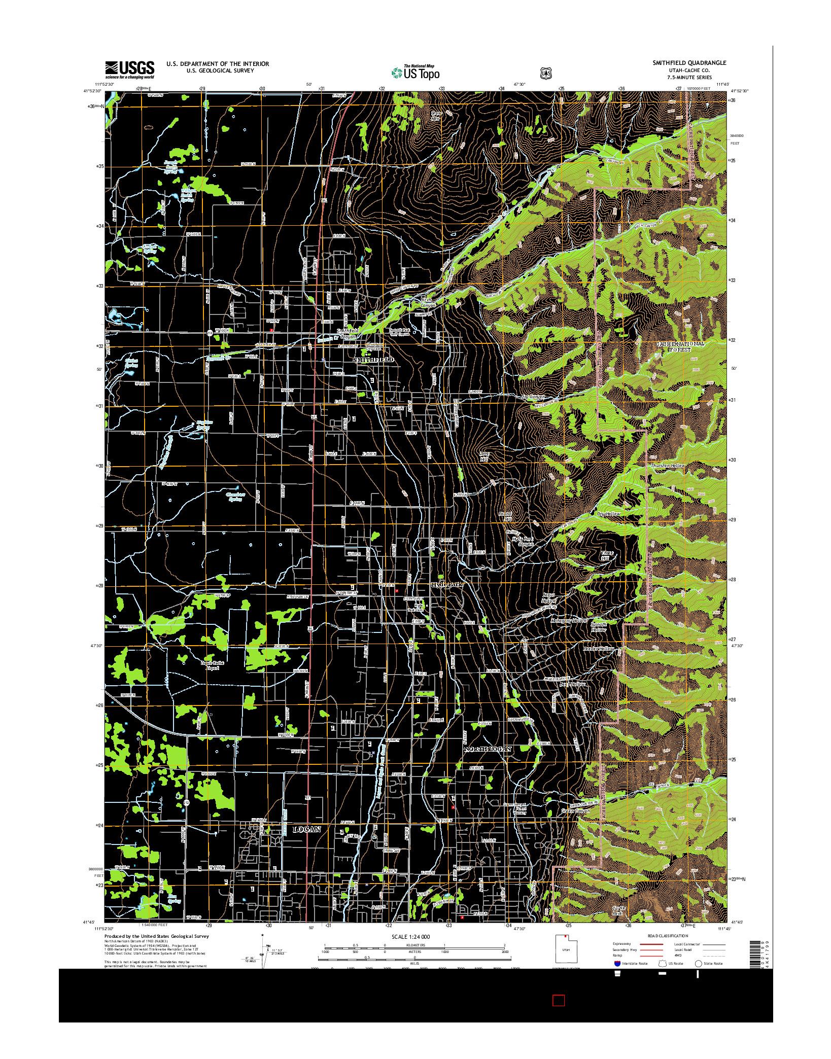 USGS US TOPO 7.5-MINUTE MAP FOR SMITHFIELD, UT 2014