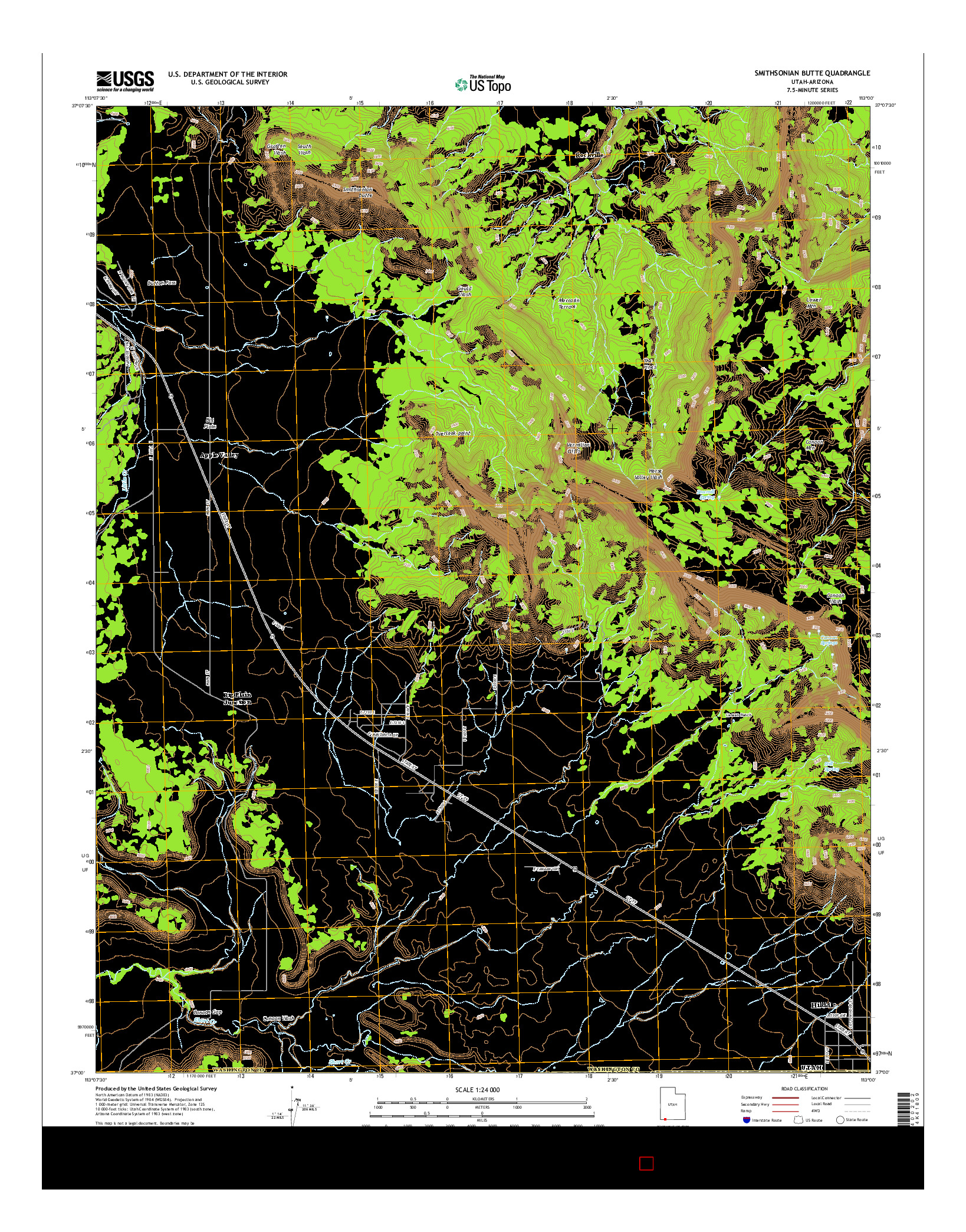USGS US TOPO 7.5-MINUTE MAP FOR SMITHSONIAN BUTTE, UT-AZ 2014