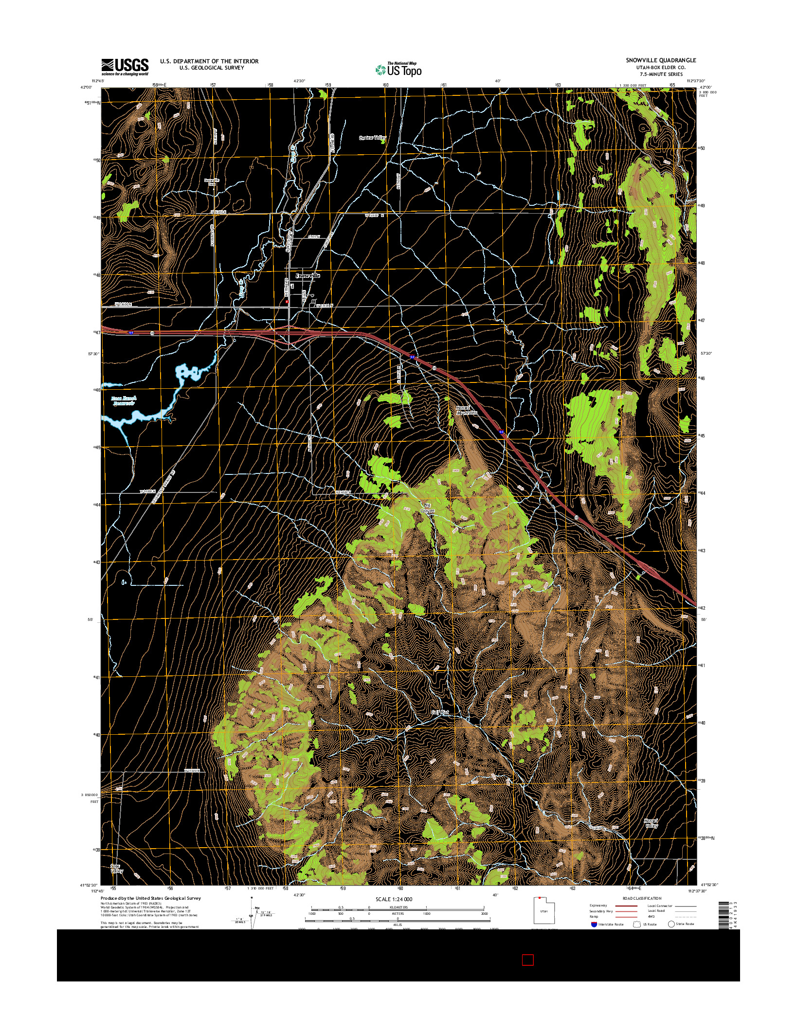 USGS US TOPO 7.5-MINUTE MAP FOR SNOWVILLE, UT 2014
