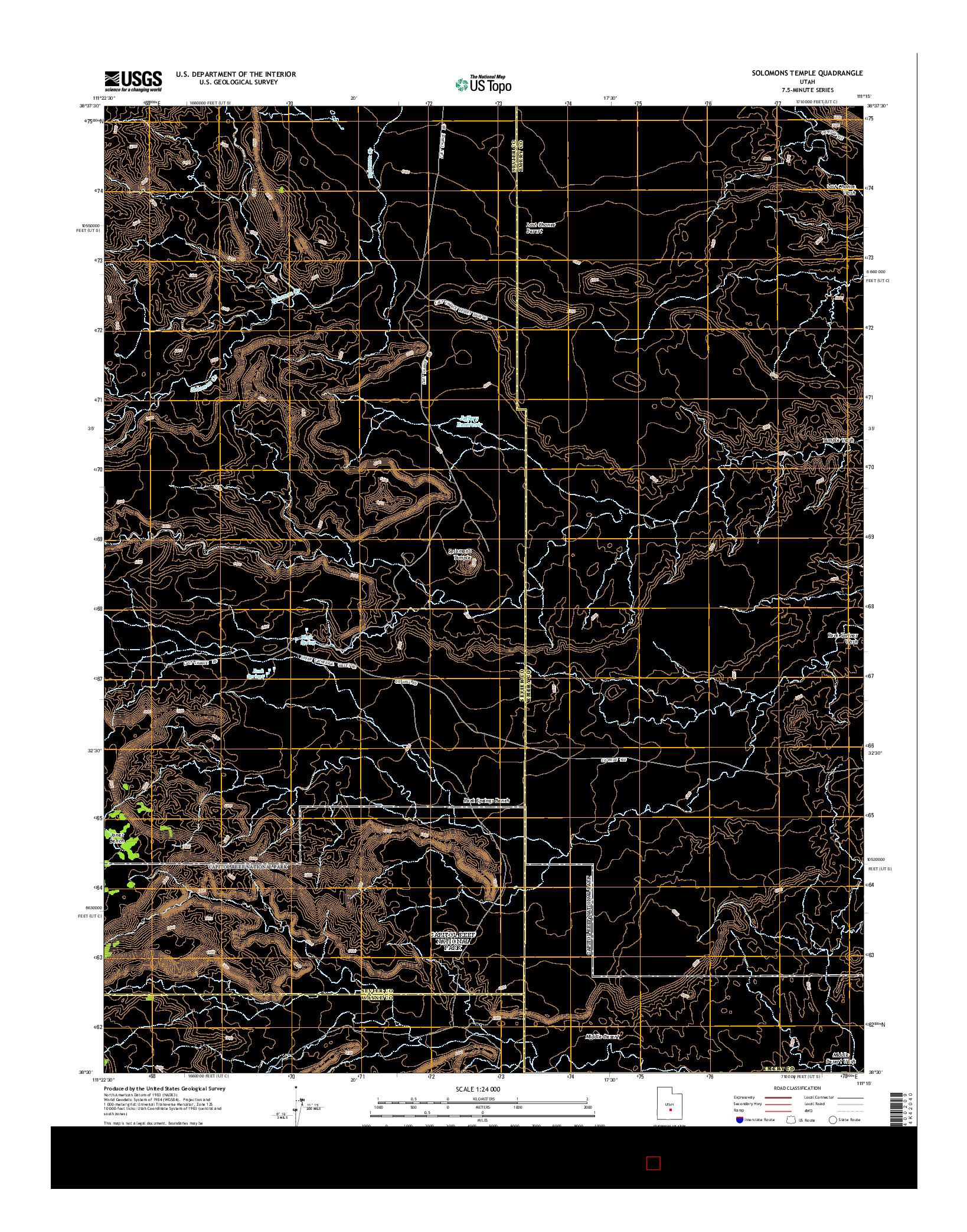 USGS US TOPO 7.5-MINUTE MAP FOR SOLOMONS TEMPLE, UT 2014