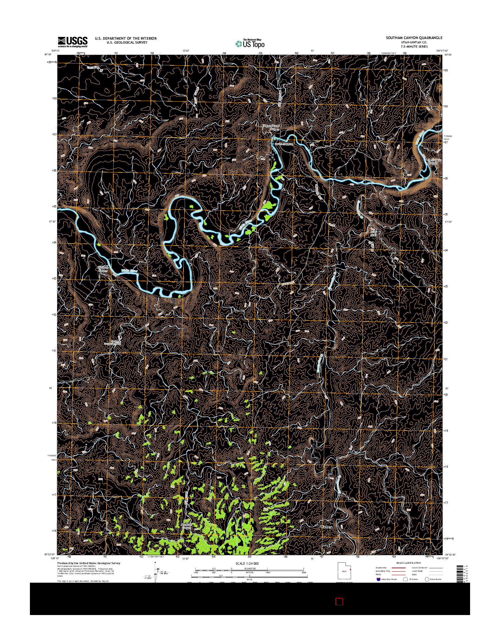 USGS US TOPO 7.5-MINUTE MAP FOR SOUTHAM CANYON, UT 2014
