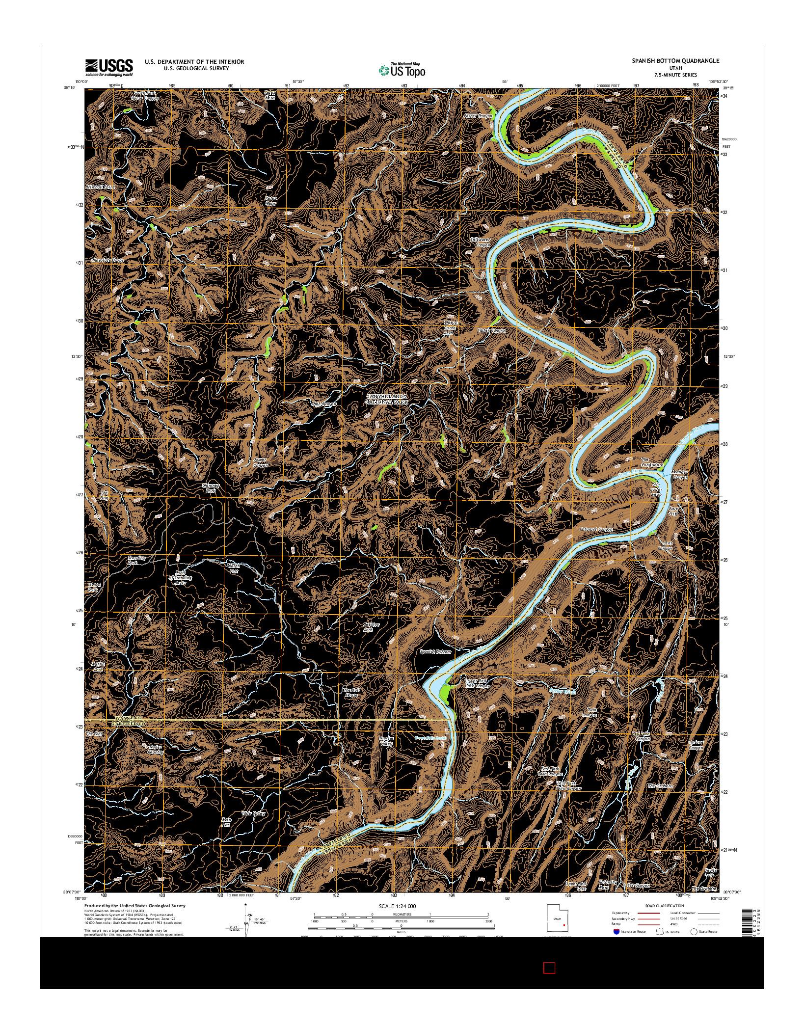 USGS US TOPO 7.5-MINUTE MAP FOR SPANISH BOTTOM, UT 2014