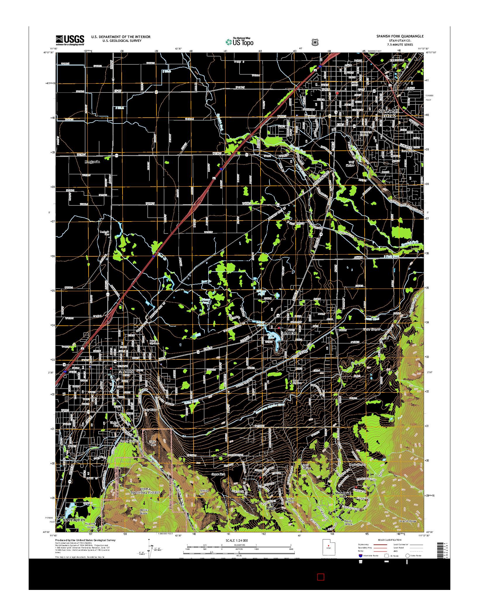 USGS US TOPO 7.5-MINUTE MAP FOR SPANISH FORK, UT 2014