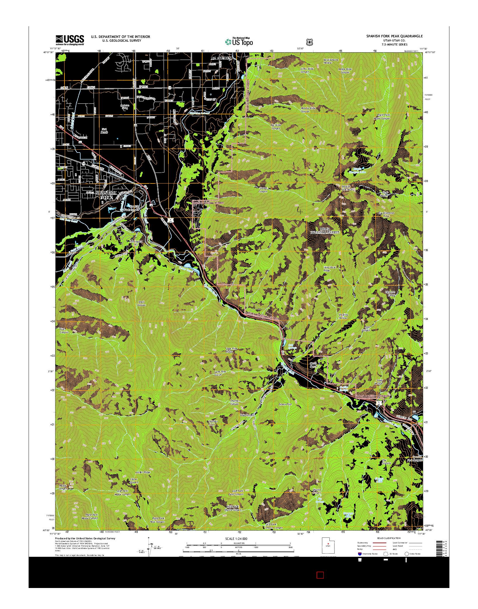 USGS US TOPO 7.5-MINUTE MAP FOR SPANISH FORK PEAK, UT 2014