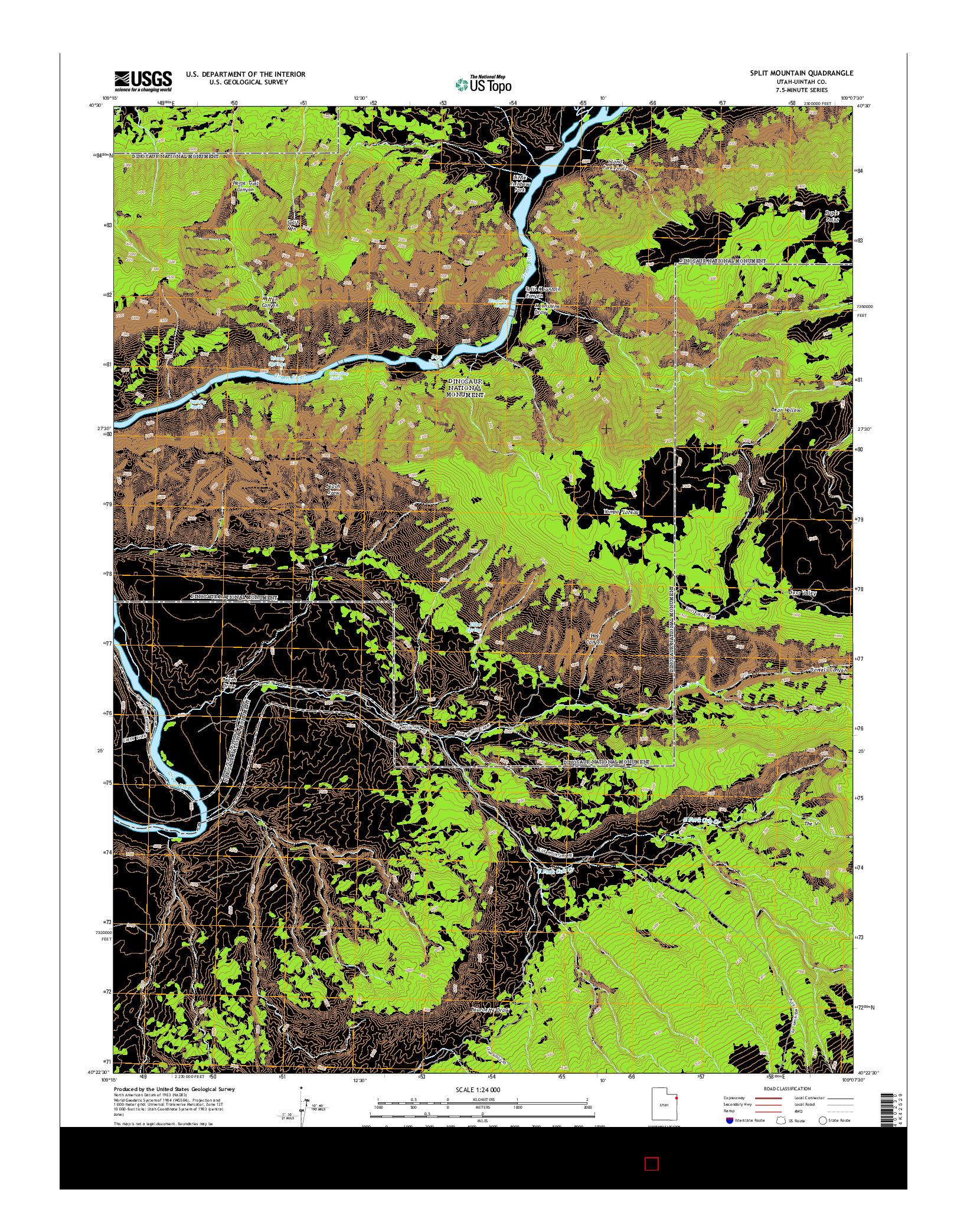 USGS US TOPO 7.5-MINUTE MAP FOR SPLIT MOUNTAIN, UT 2014