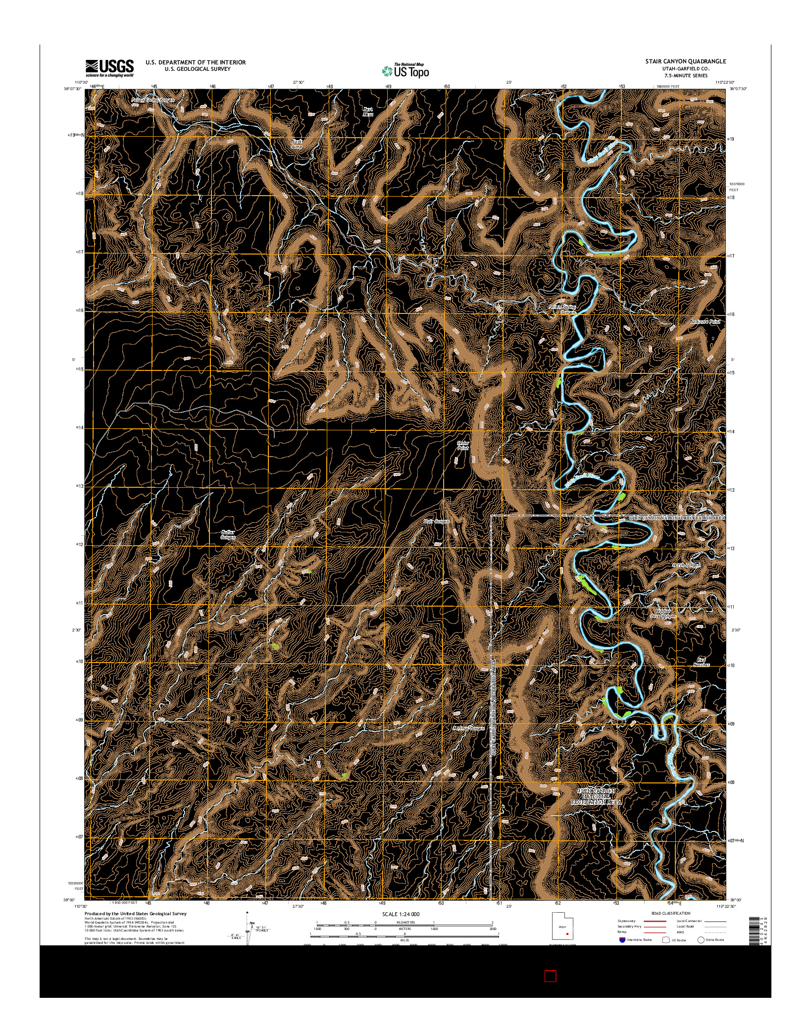 USGS US TOPO 7.5-MINUTE MAP FOR STAIR CANYON, UT 2014