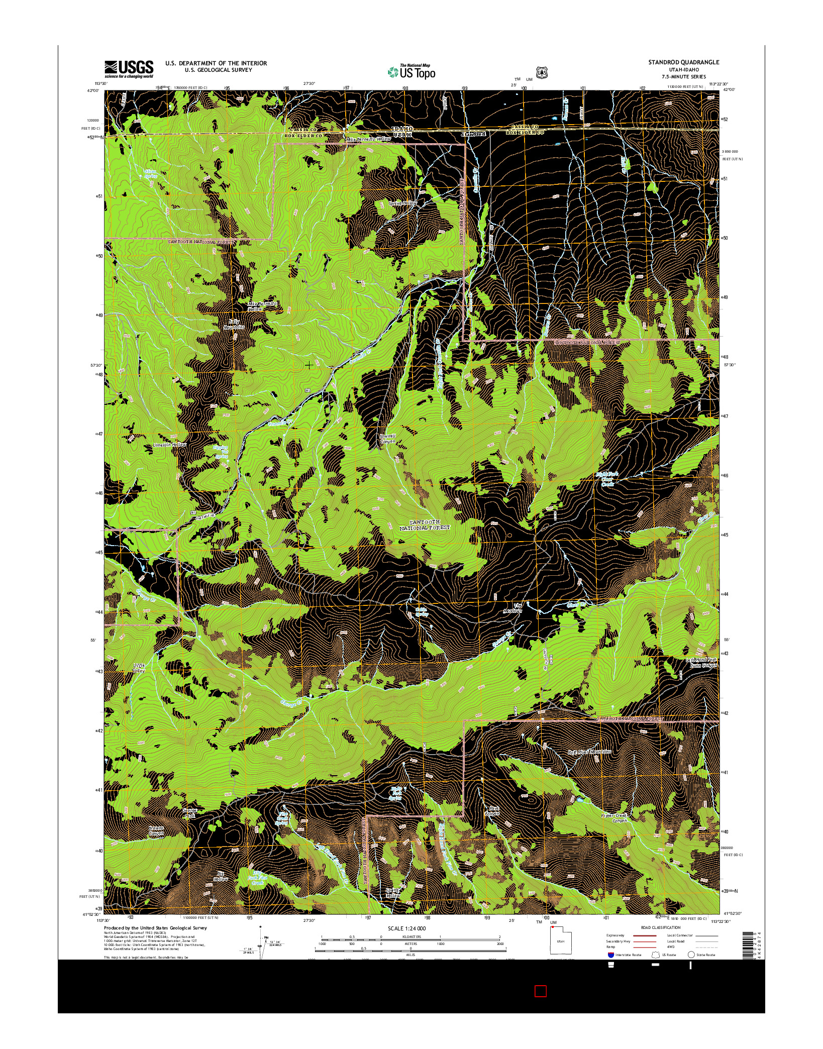 USGS US TOPO 7.5-MINUTE MAP FOR STANDROD, UT-ID 2014