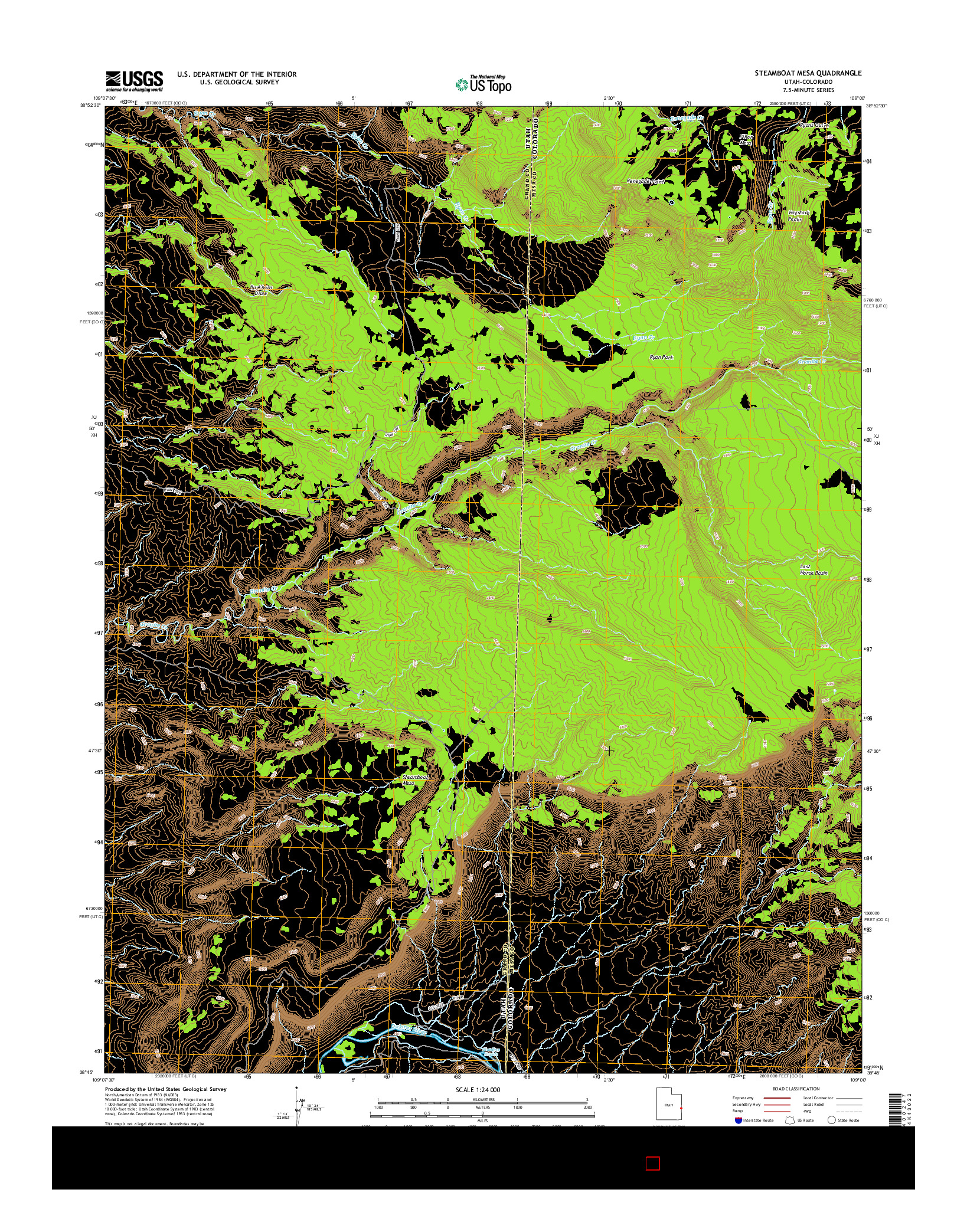 USGS US TOPO 7.5-MINUTE MAP FOR STEAMBOAT MESA, UT-CO 2014