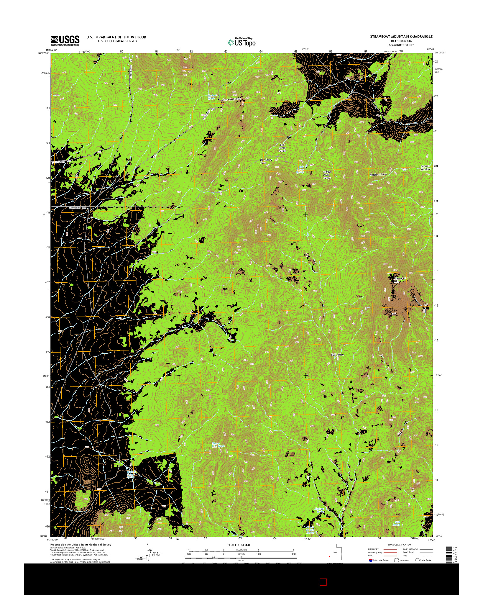 USGS US TOPO 7.5-MINUTE MAP FOR STEAMBOAT MOUNTAIN, UT 2014