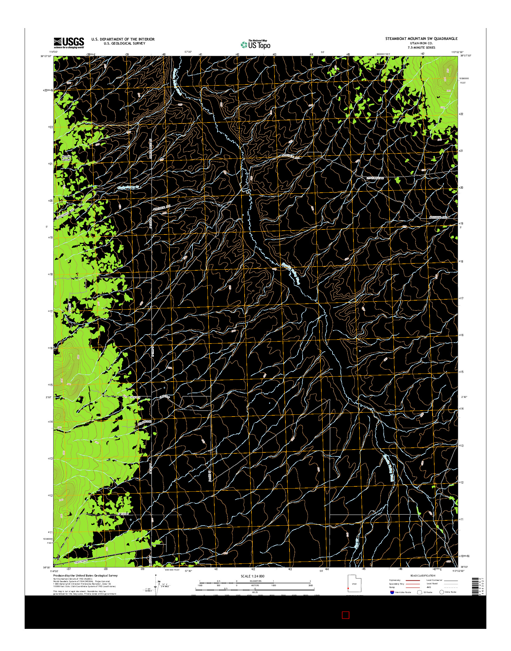USGS US TOPO 7.5-MINUTE MAP FOR STEAMBOAT MOUNTAIN SW, UT 2014