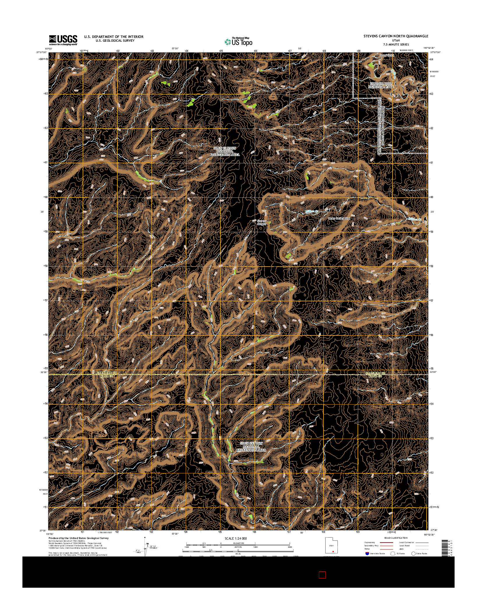 USGS US TOPO 7.5-MINUTE MAP FOR STEVENS CANYON NORTH, UT 2014