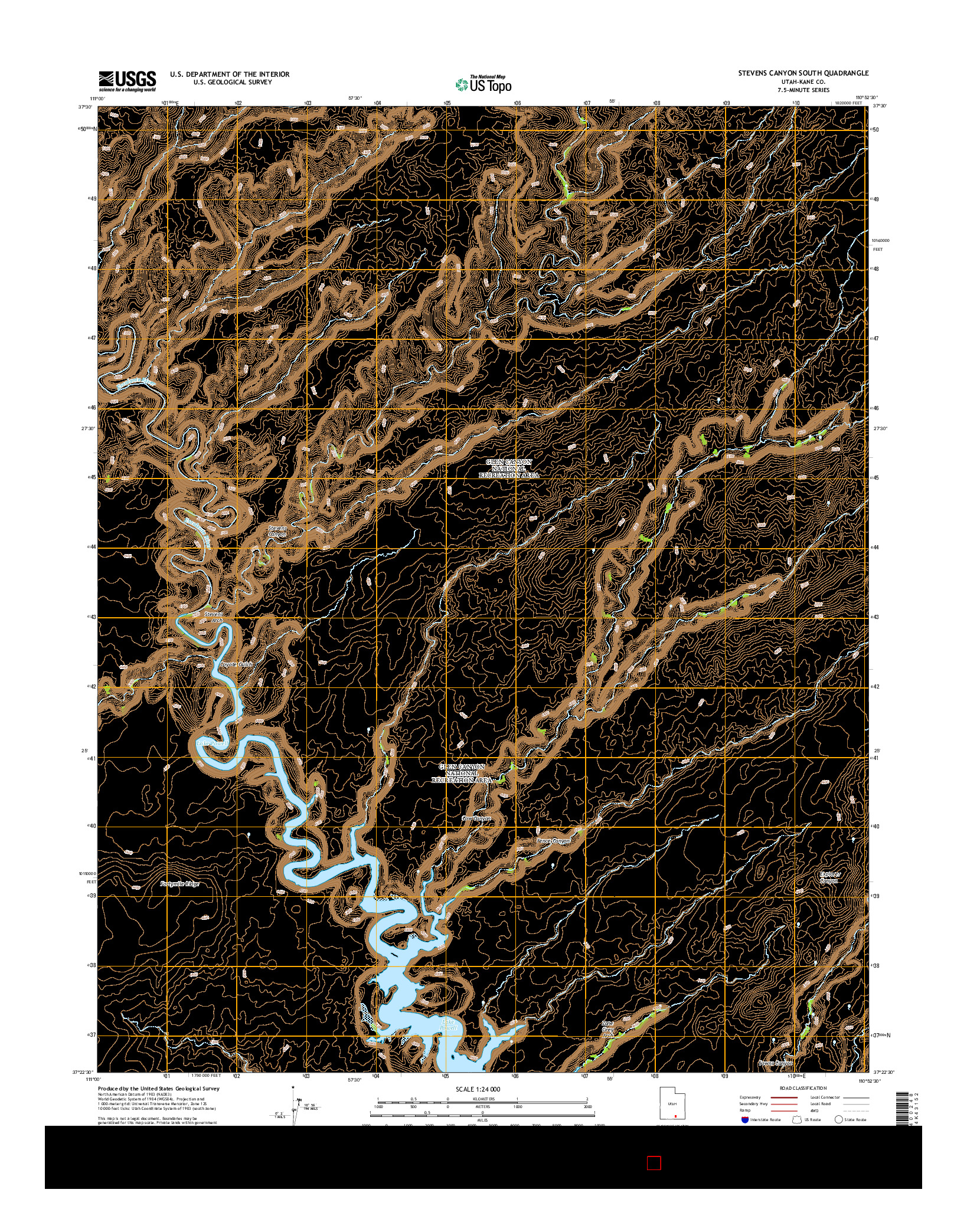 USGS US TOPO 7.5-MINUTE MAP FOR STEVENS CANYON SOUTH, UT 2014