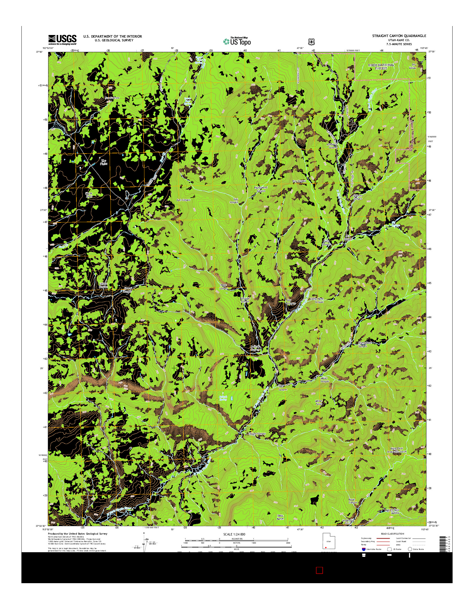 USGS US TOPO 7.5-MINUTE MAP FOR STRAIGHT CANYON, UT 2014