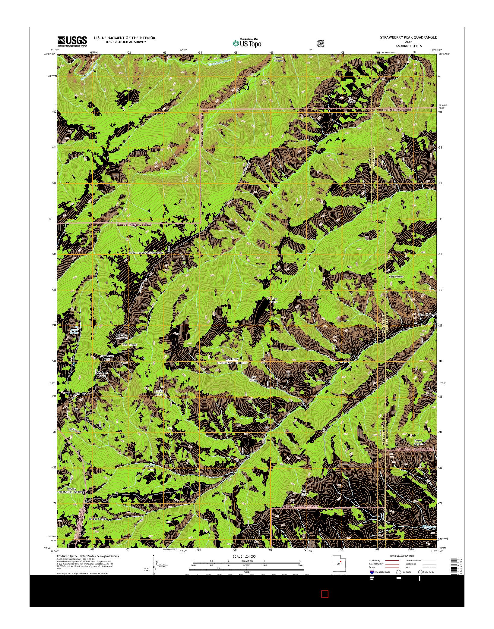 USGS US TOPO 7.5-MINUTE MAP FOR STRAWBERRY PEAK, UT 2014