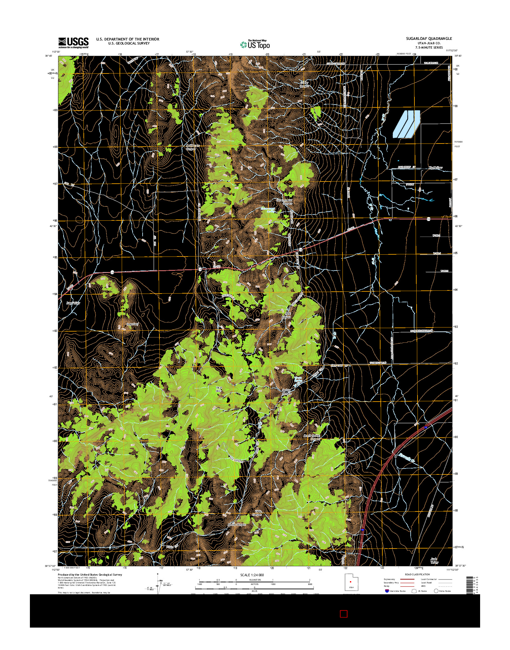 USGS US TOPO 7.5-MINUTE MAP FOR SUGARLOAF, UT 2014