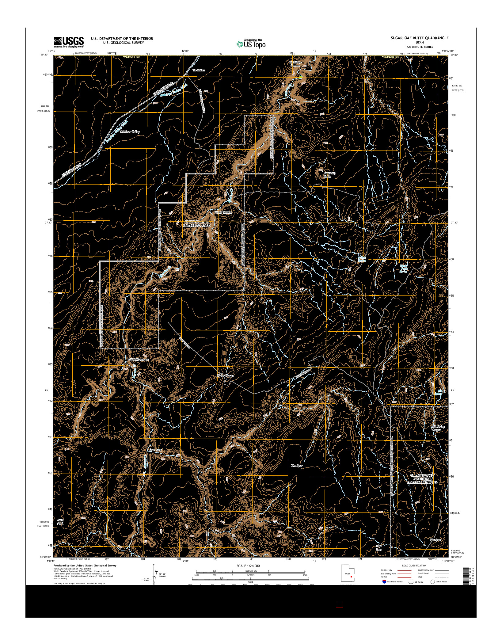 USGS US TOPO 7.5-MINUTE MAP FOR SUGARLOAF BUTTE, UT 2014