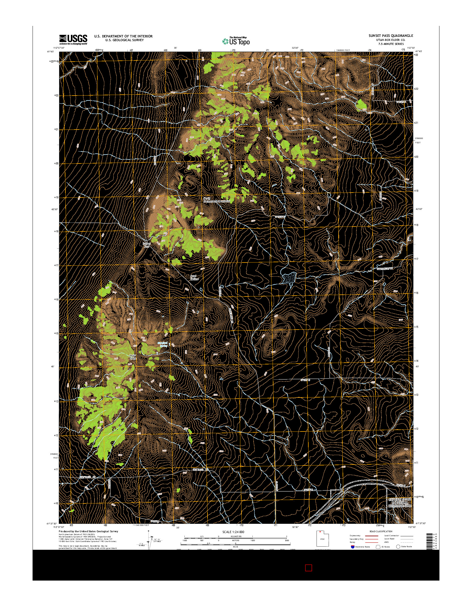 USGS US TOPO 7.5-MINUTE MAP FOR SUNSET PASS, UT 2014