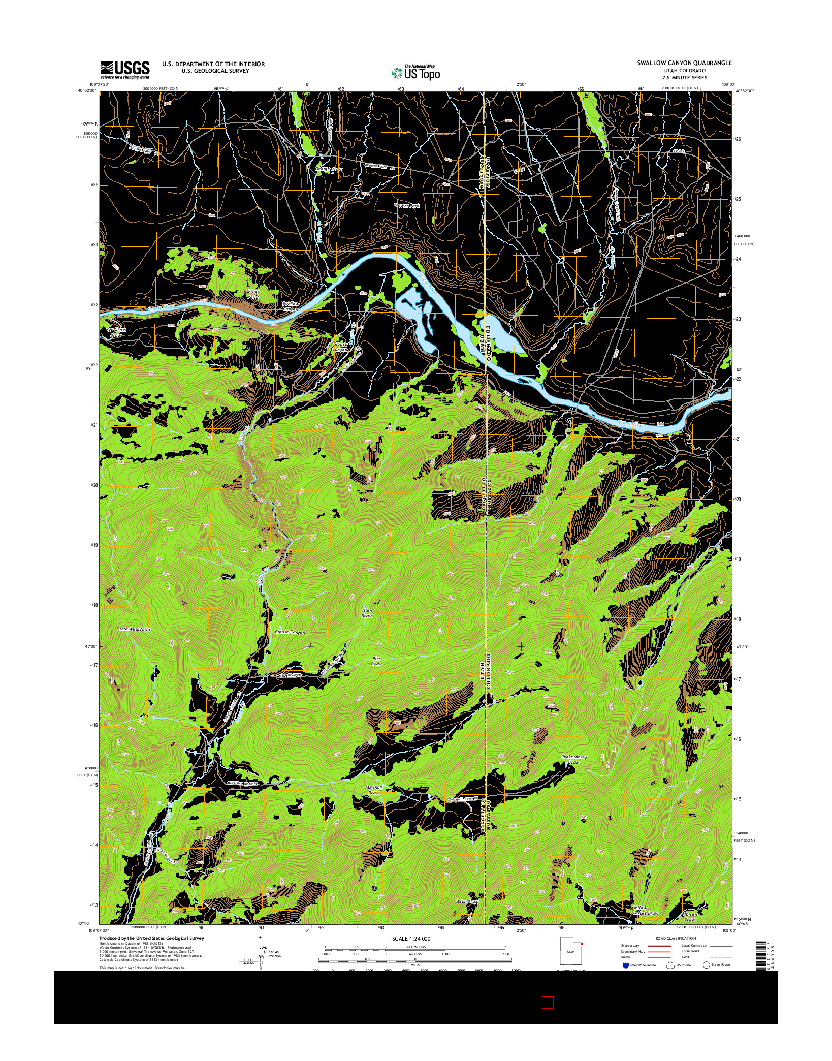 USGS US TOPO 7.5-MINUTE MAP FOR SWALLOW CANYON, UT-CO 2014