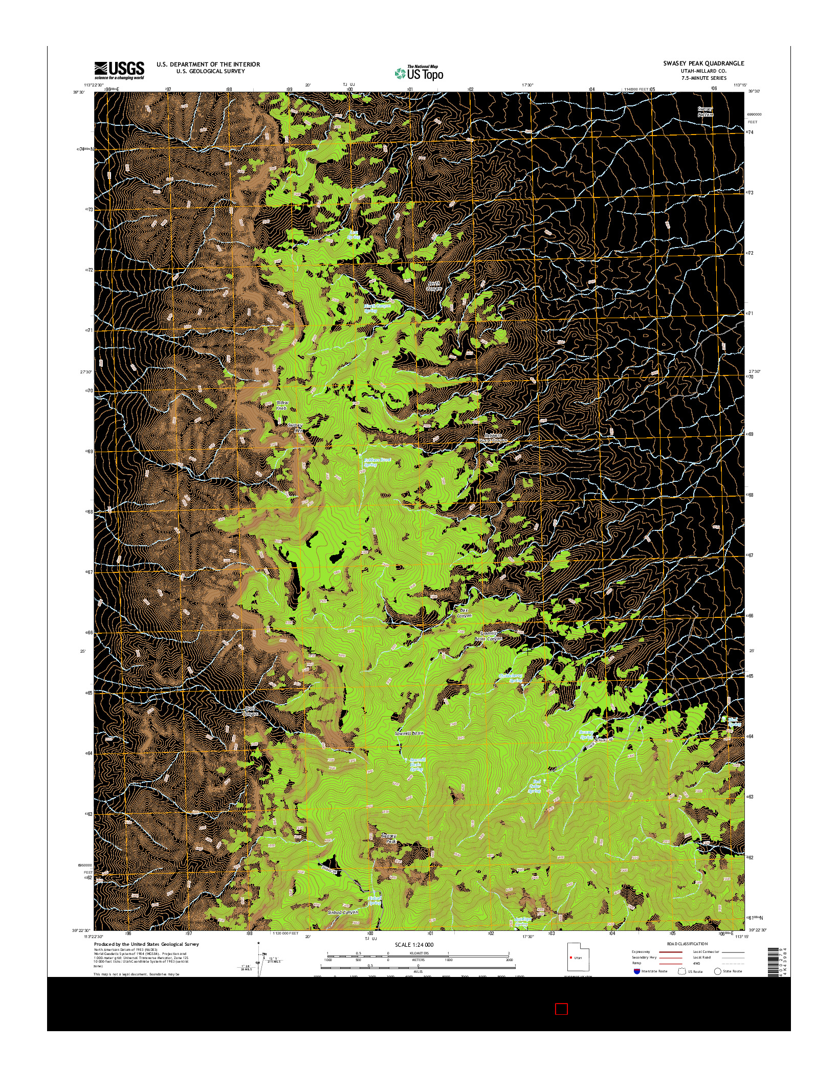 USGS US TOPO 7.5-MINUTE MAP FOR SWASEY PEAK, UT 2014