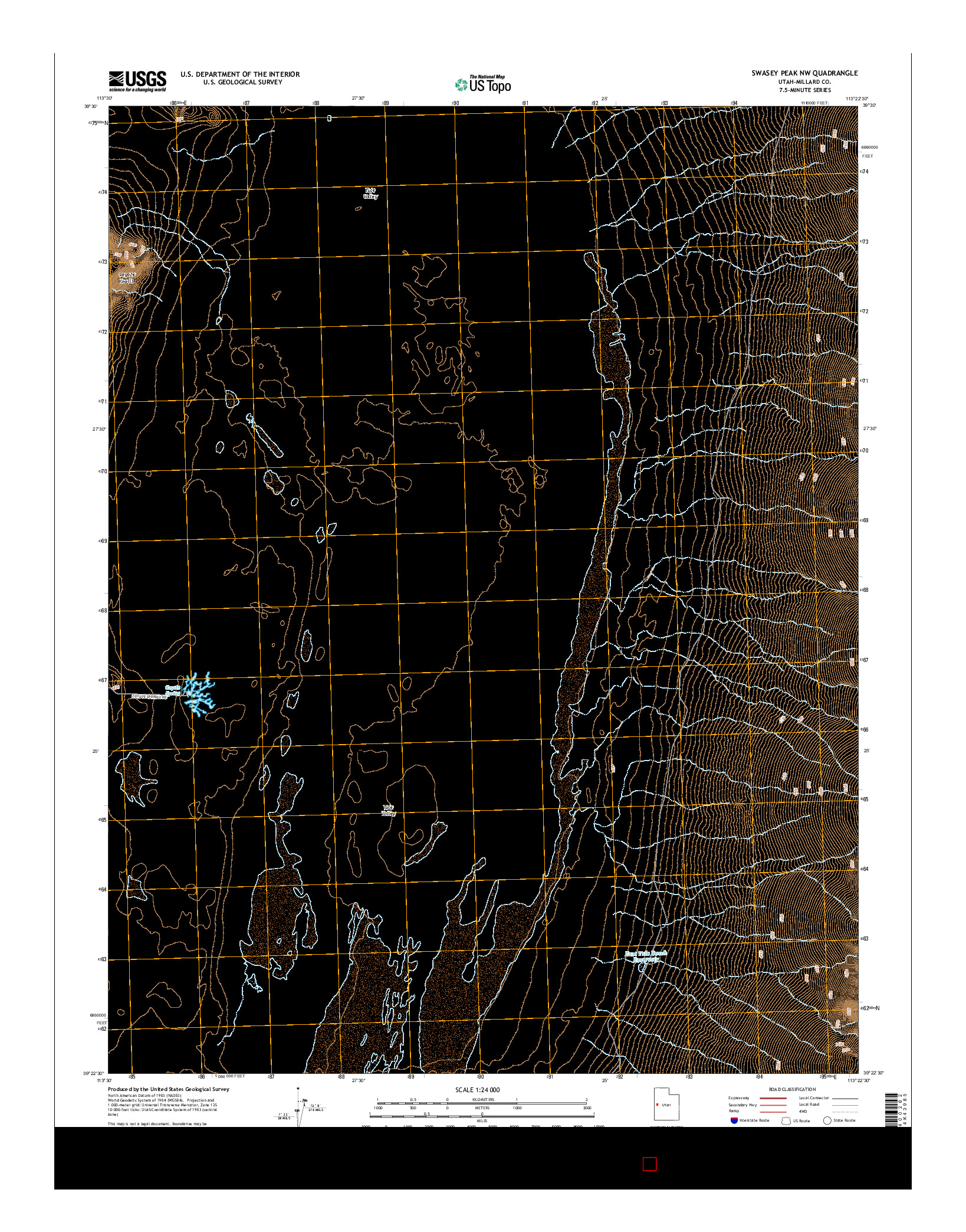 USGS US TOPO 7.5-MINUTE MAP FOR SWASEY PEAK NW, UT 2014