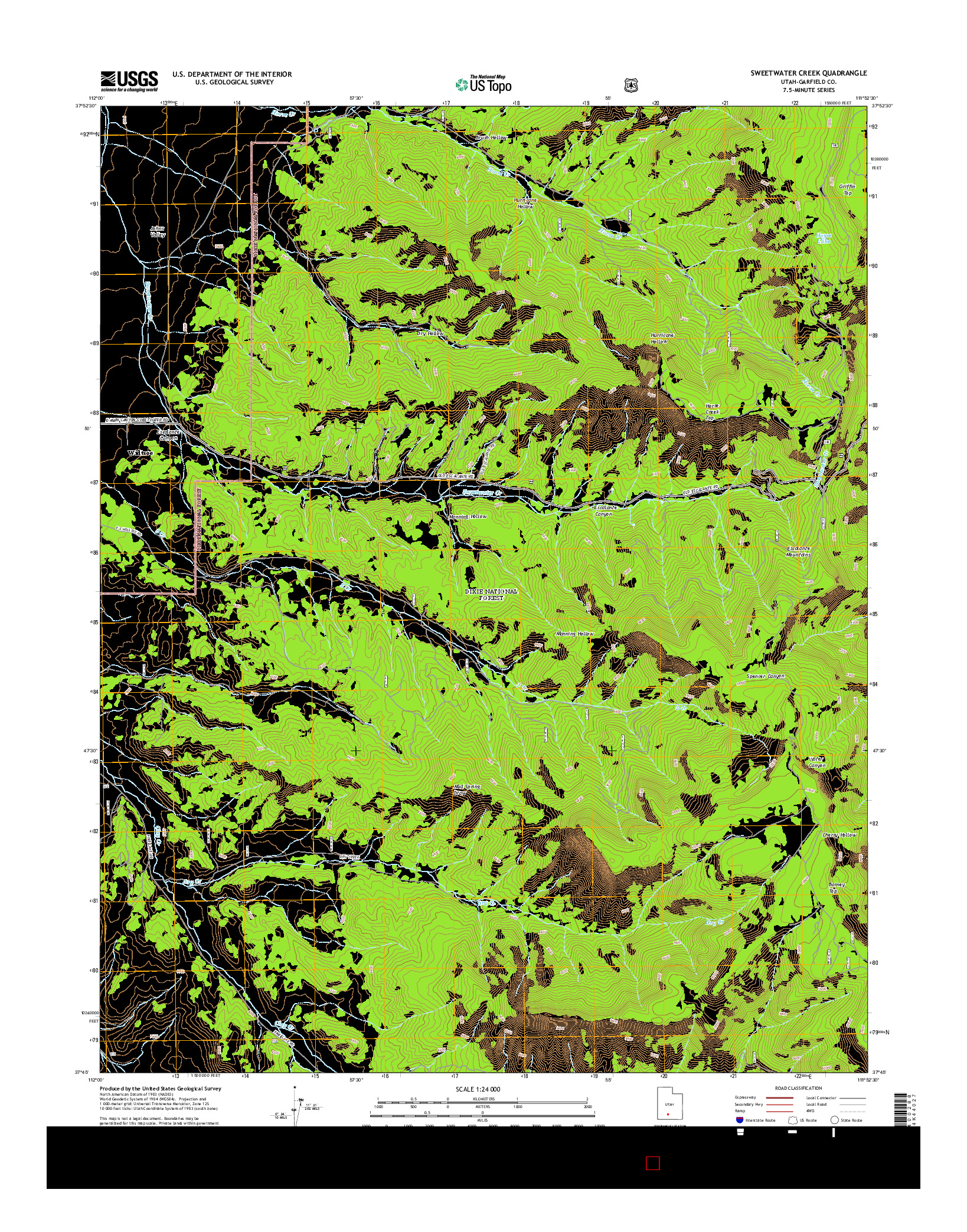 USGS US TOPO 7.5-MINUTE MAP FOR SWEETWATER CREEK, UT 2014