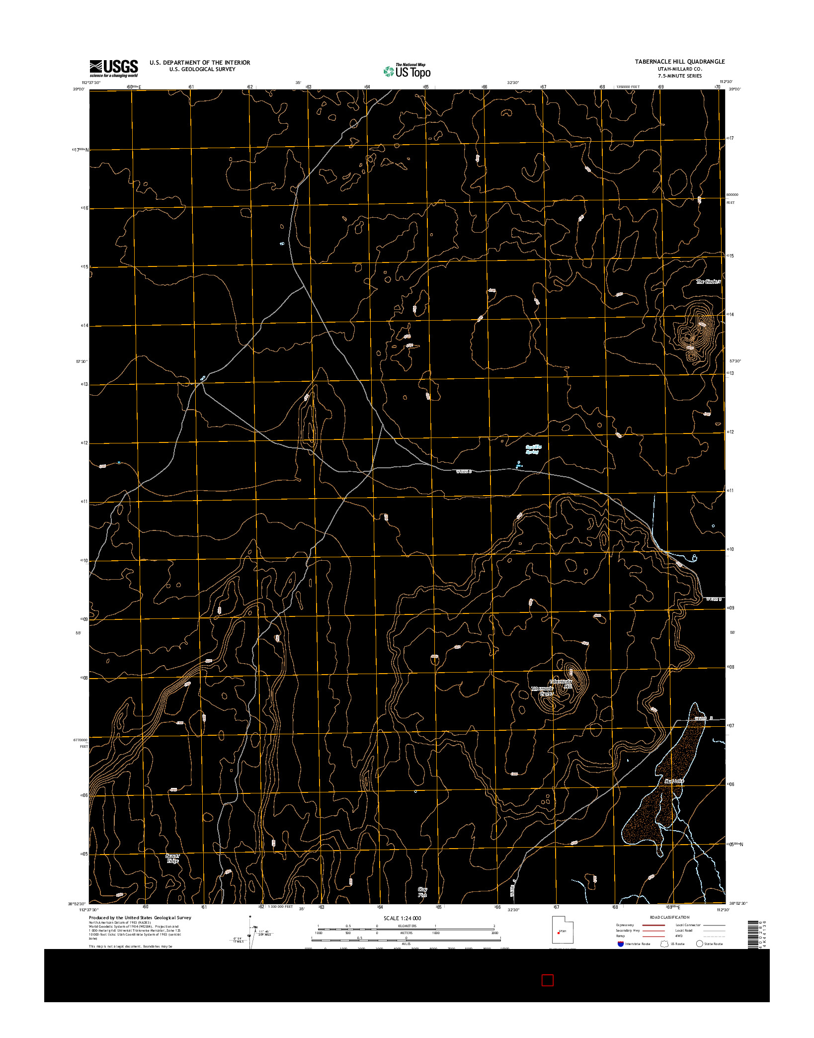 USGS US TOPO 7.5-MINUTE MAP FOR TABERNACLE HILL, UT 2014