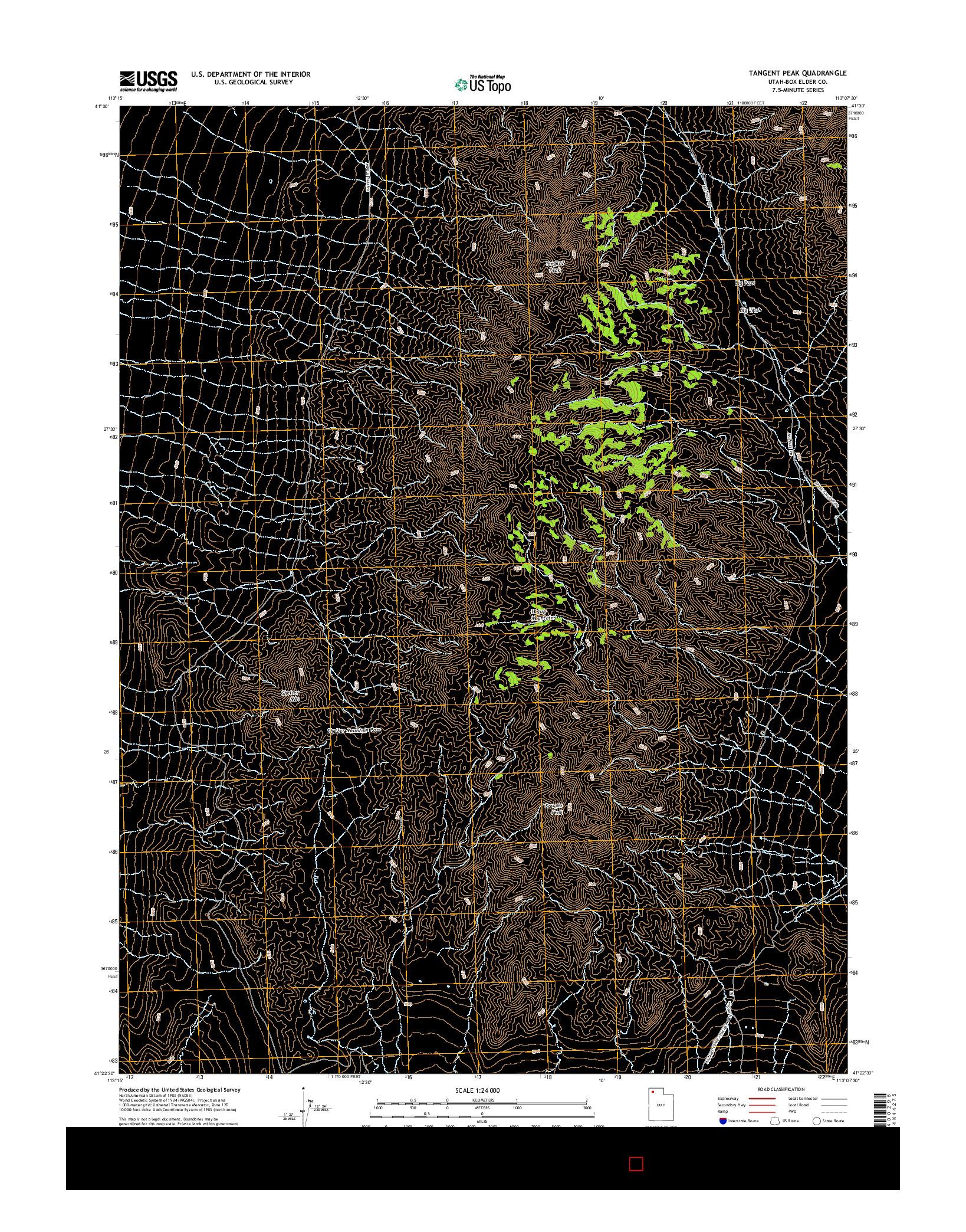 USGS US TOPO 7.5-MINUTE MAP FOR TANGENT PEAK, UT 2014