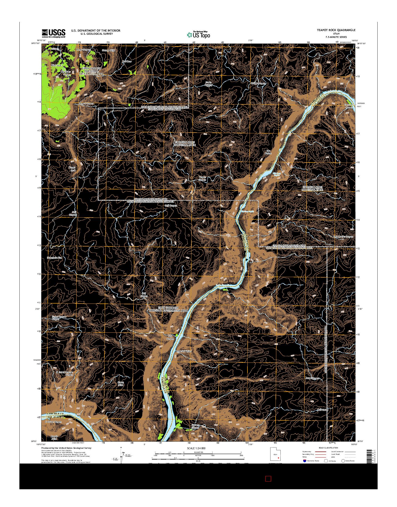 USGS US TOPO 7.5-MINUTE MAP FOR TEAPOT ROCK, UT 2014