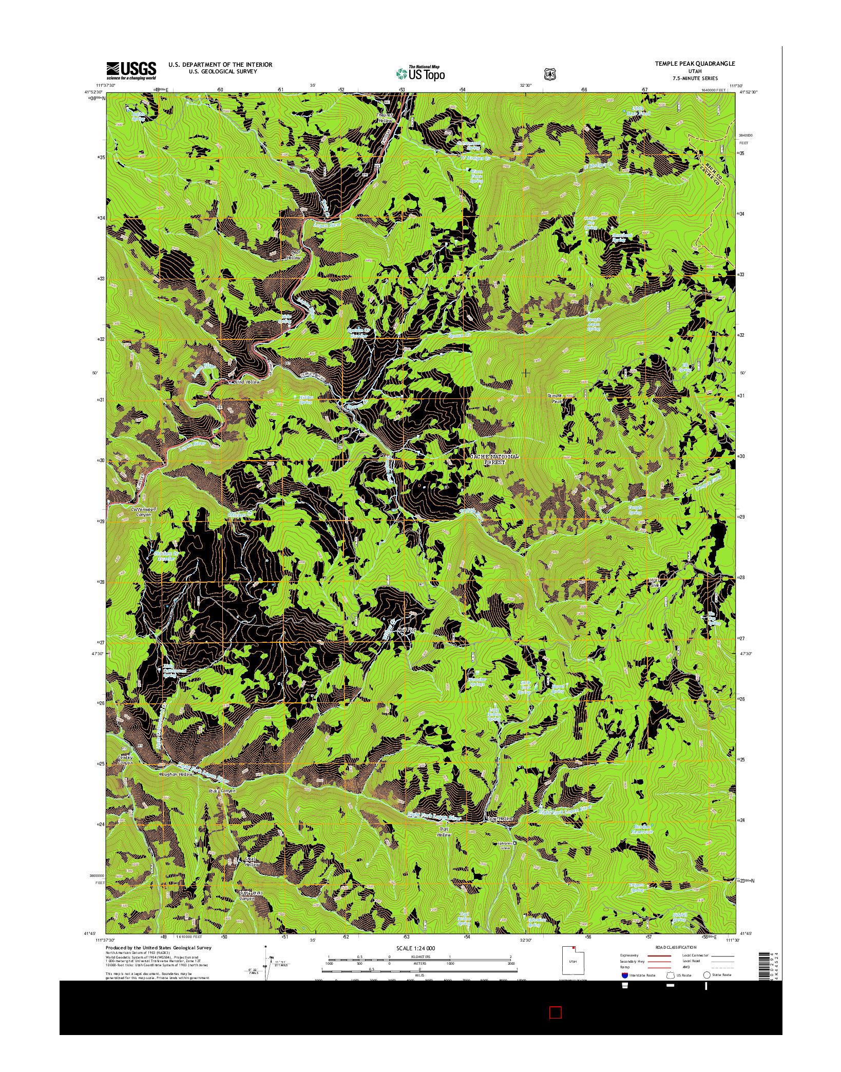 USGS US TOPO 7.5-MINUTE MAP FOR TEMPLE PEAK, UT 2014
