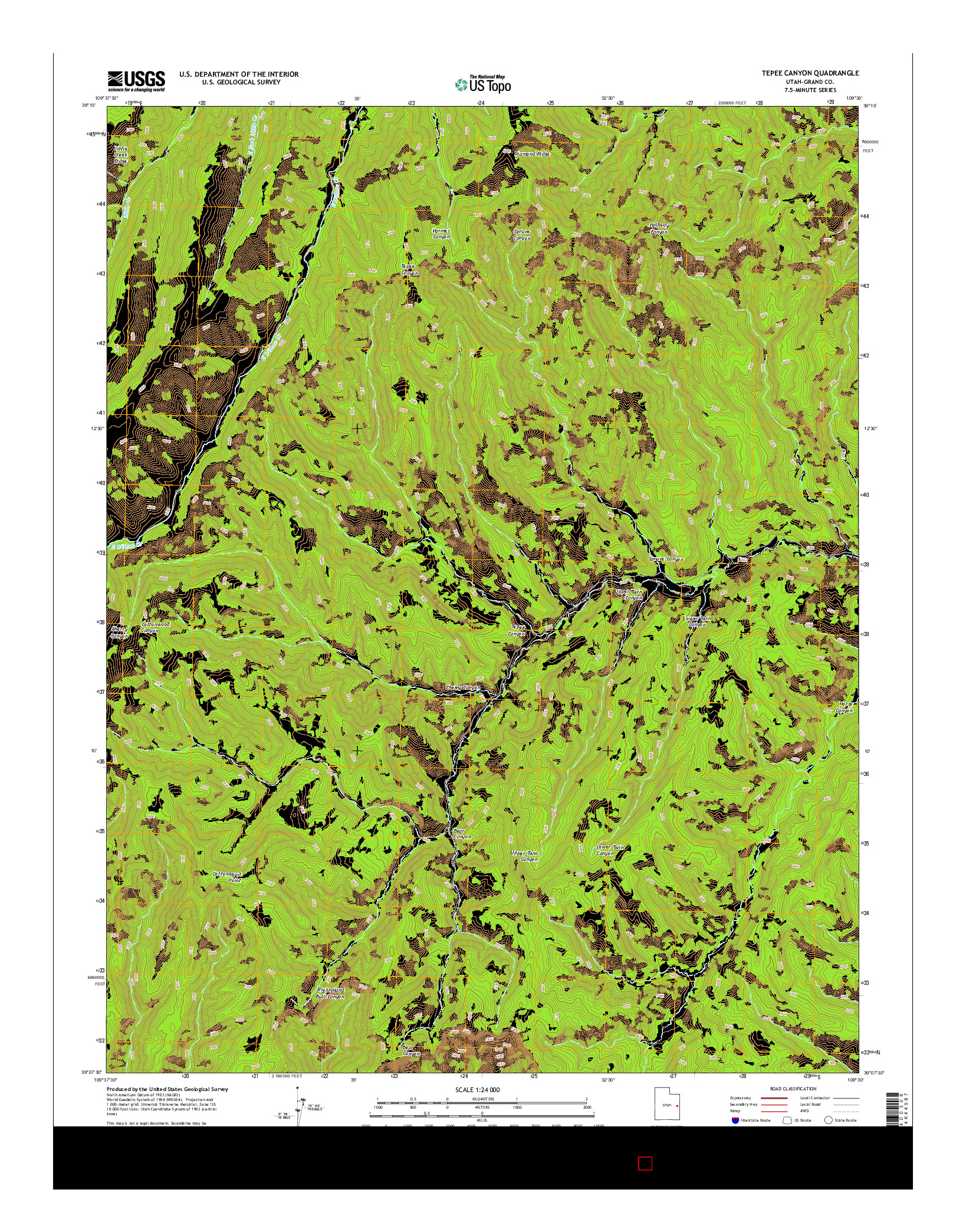 USGS US TOPO 7.5-MINUTE MAP FOR TEPEE CANYON, UT 2014