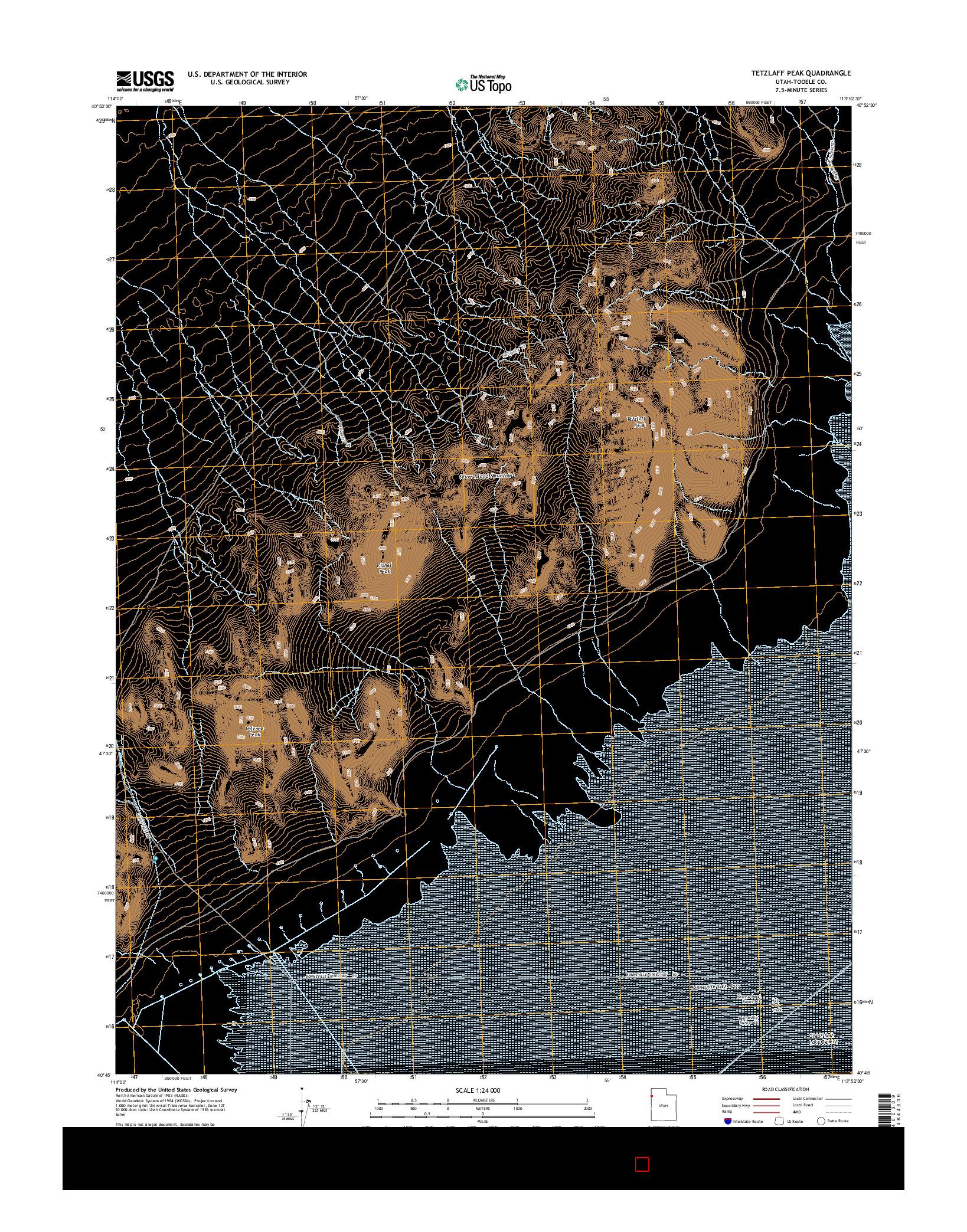 USGS US TOPO 7.5-MINUTE MAP FOR TETZLAFF PEAK, UT 2014