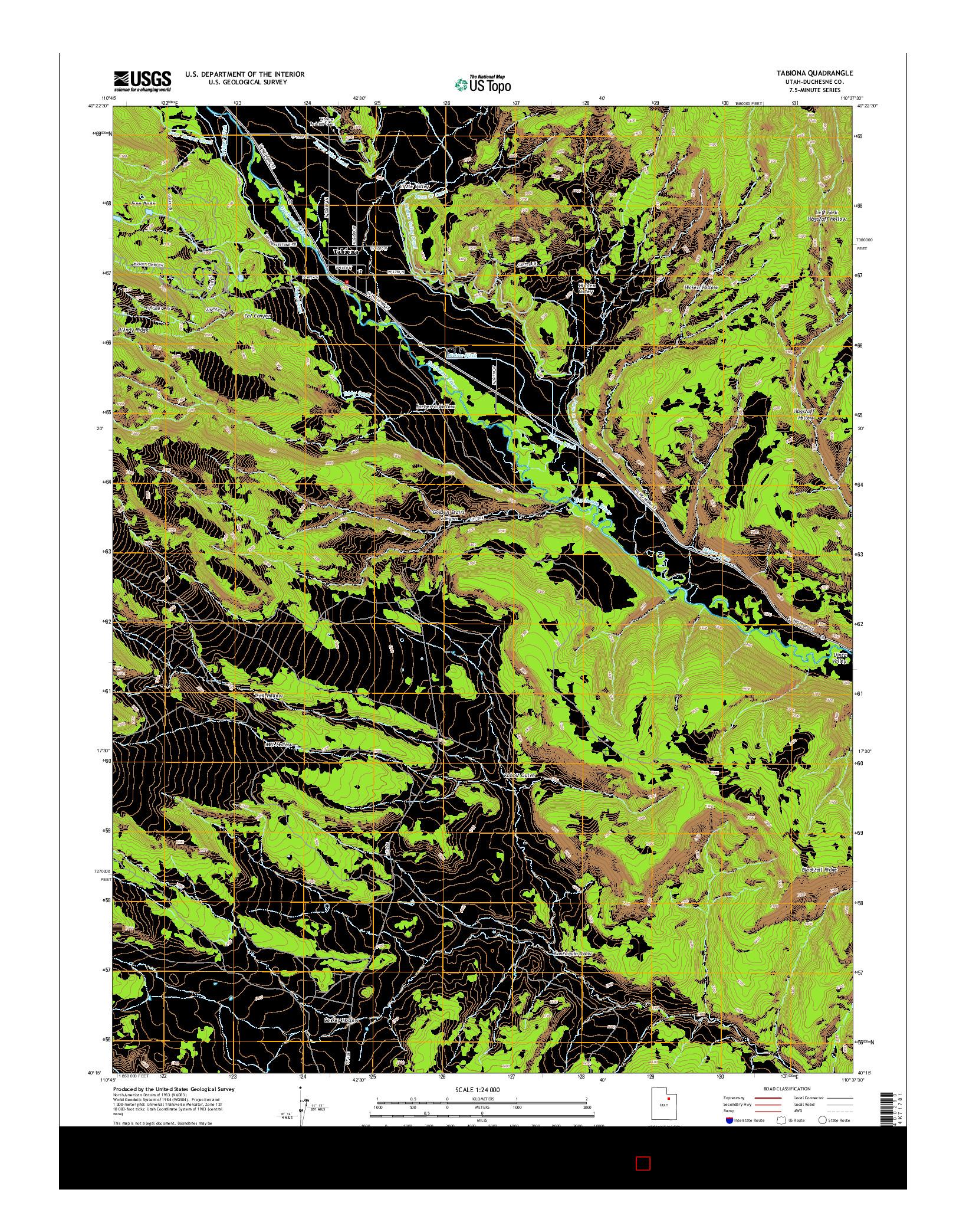 USGS US TOPO 7.5-MINUTE MAP FOR TABIONA, UT 2014