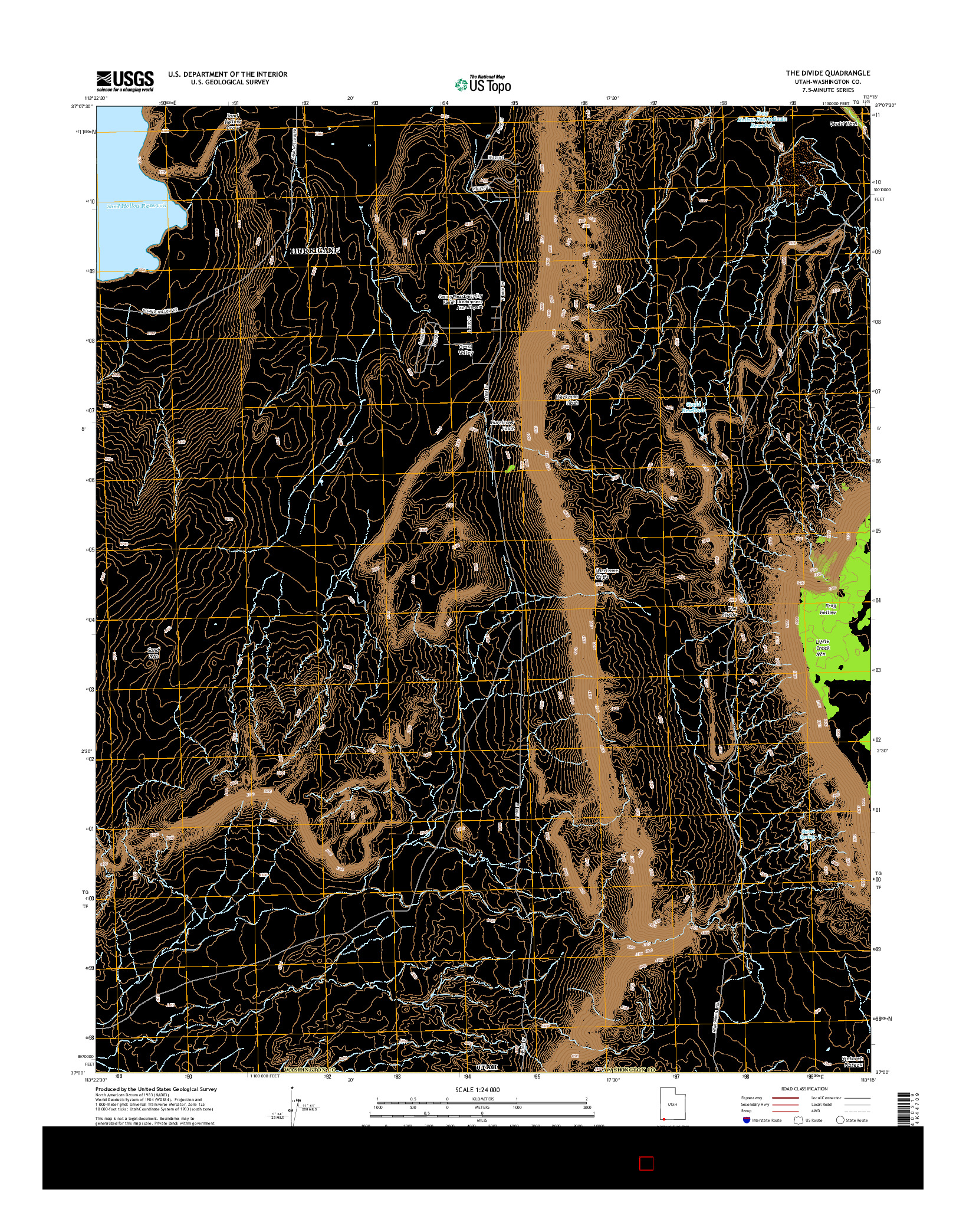USGS US TOPO 7.5-MINUTE MAP FOR THE DIVIDE, UT 2014